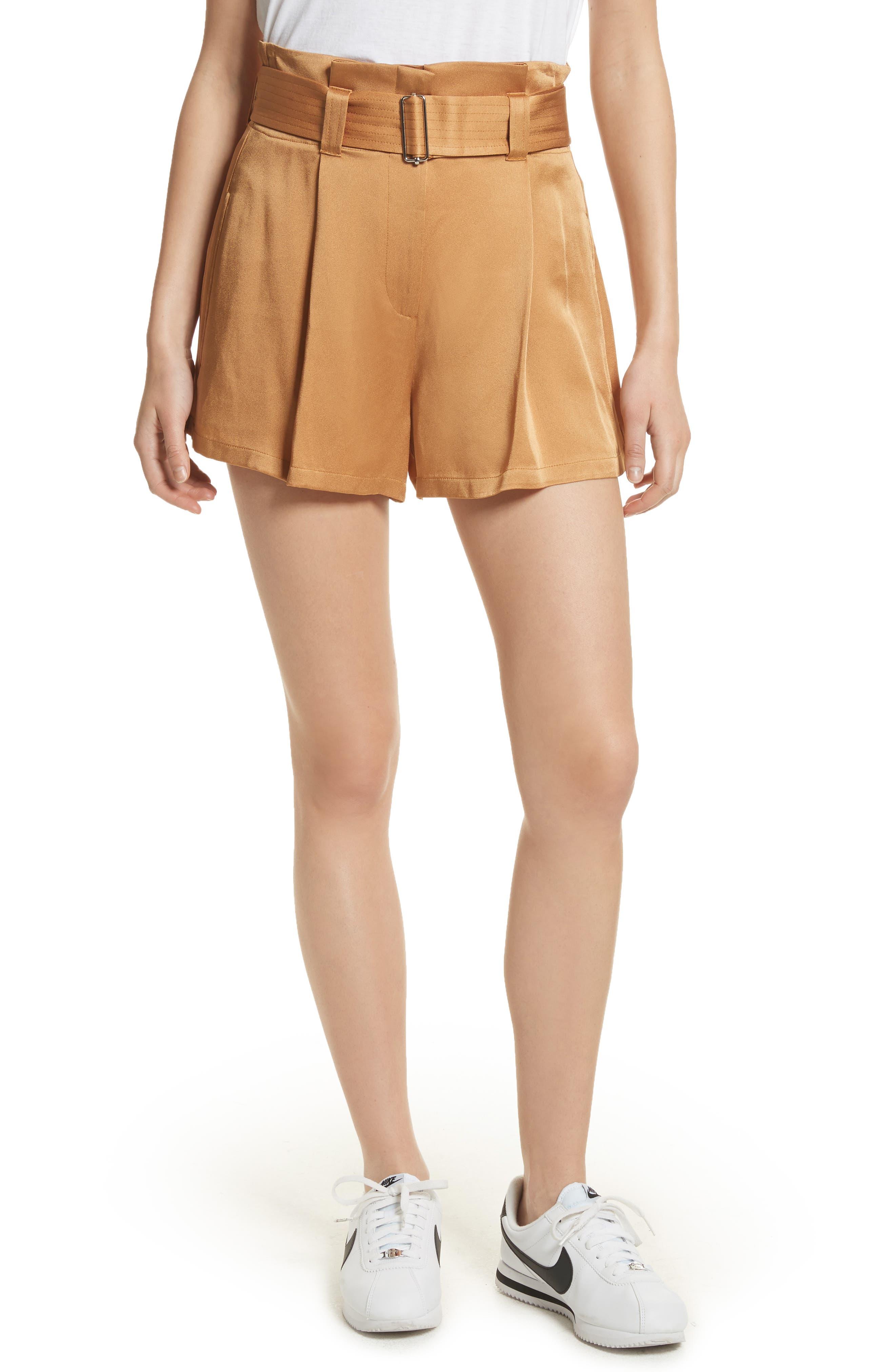 Deliah Paperbag Waist Shorts,                             Main thumbnail 1, color,                             Caramel