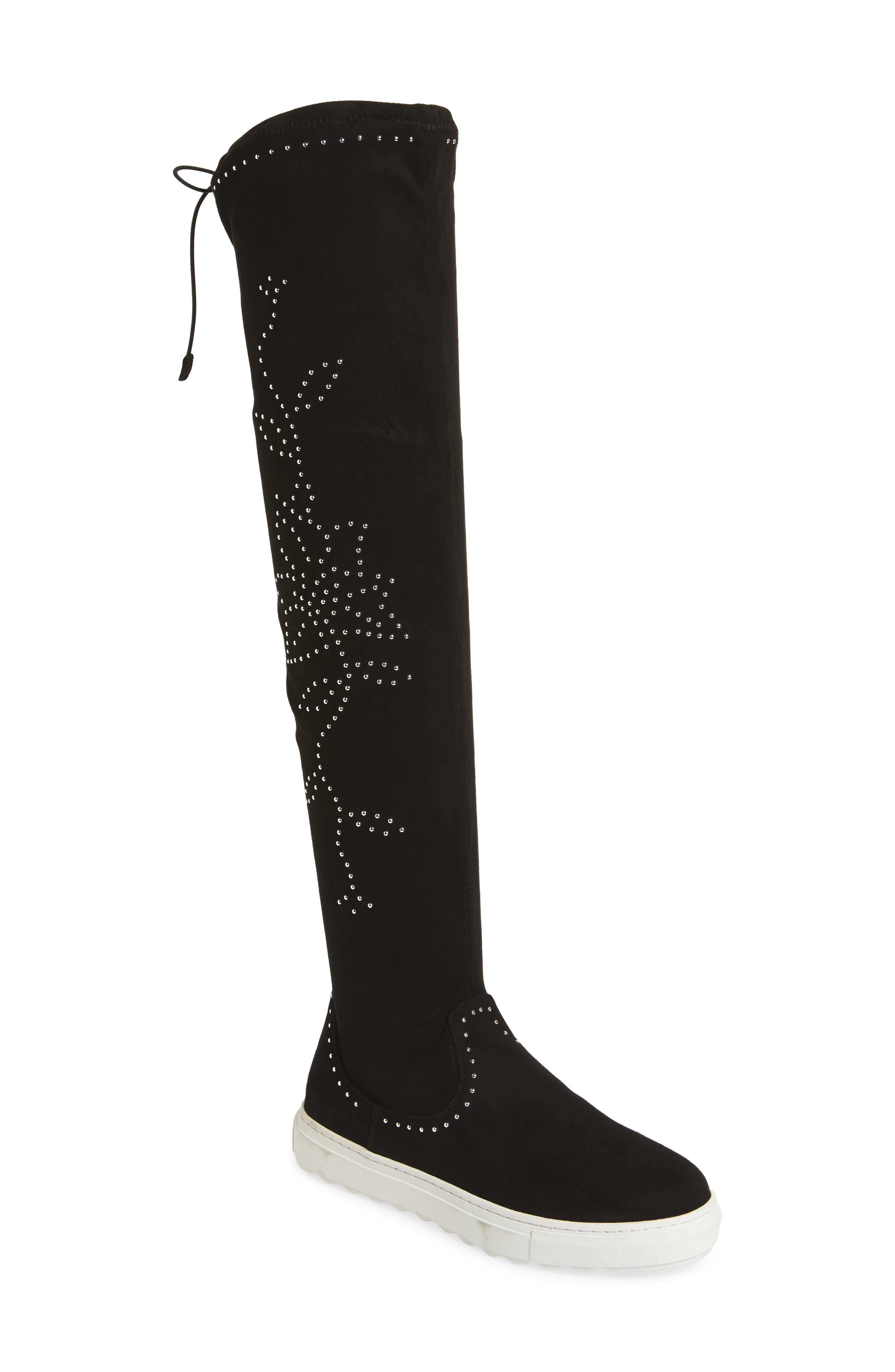 Plentee Over the Knee Boot,                             Main thumbnail 1, color,                             Black Stretch Suede