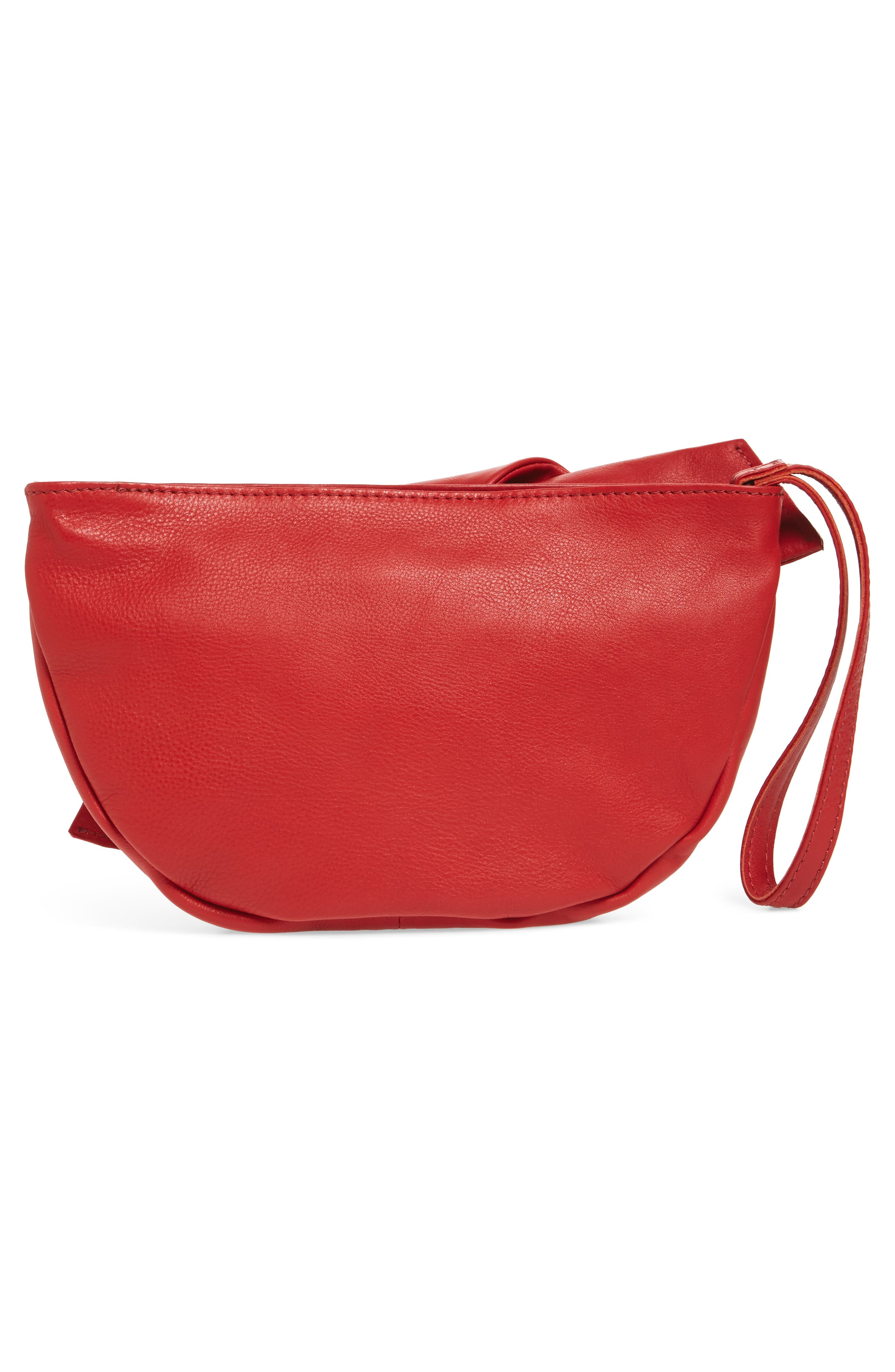 Jasmine Leather Clutch,                             Alternate thumbnail 3, color,                             Red