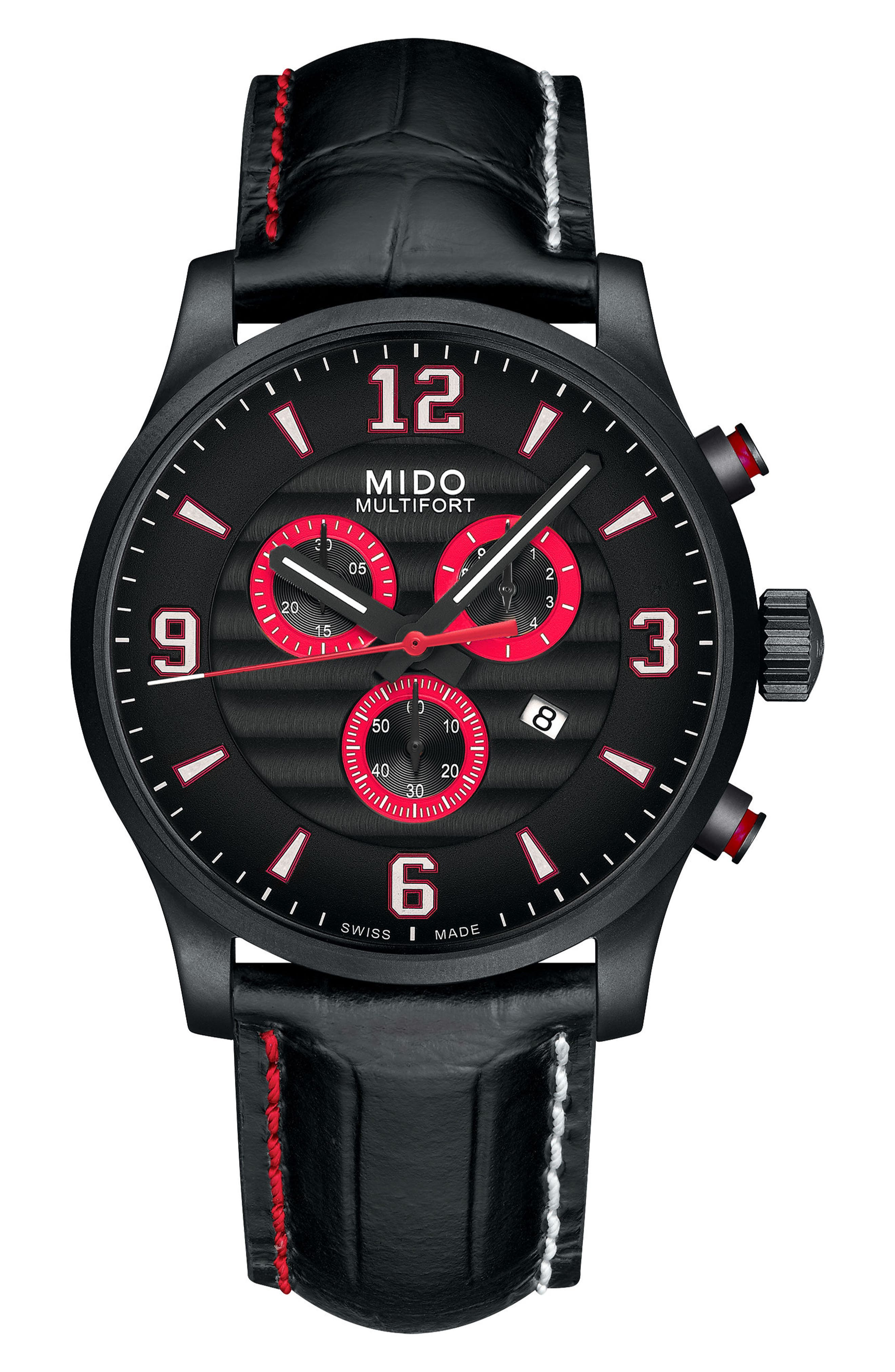 Multifort Chronograph Leather Strap Watch, 42mm,                         Main,                         color, Black
