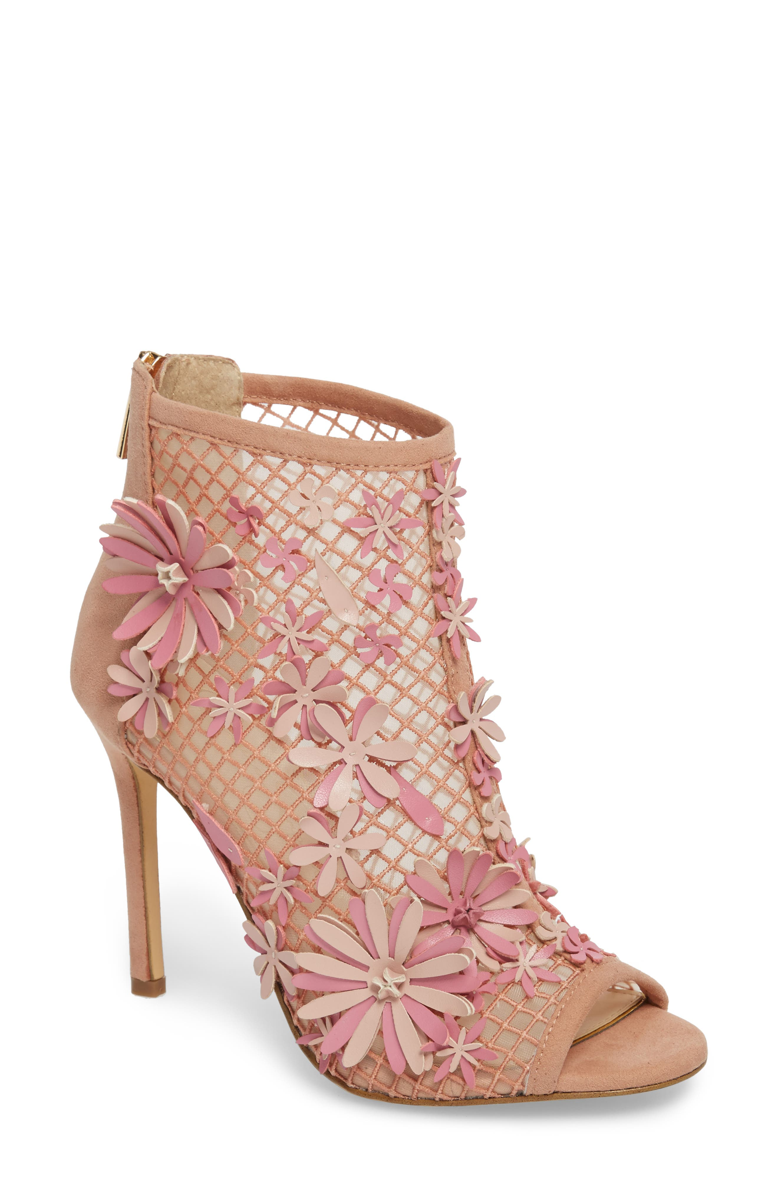 Jayko Flower Mesh Bootie,                         Main,                         color, Nude Blush