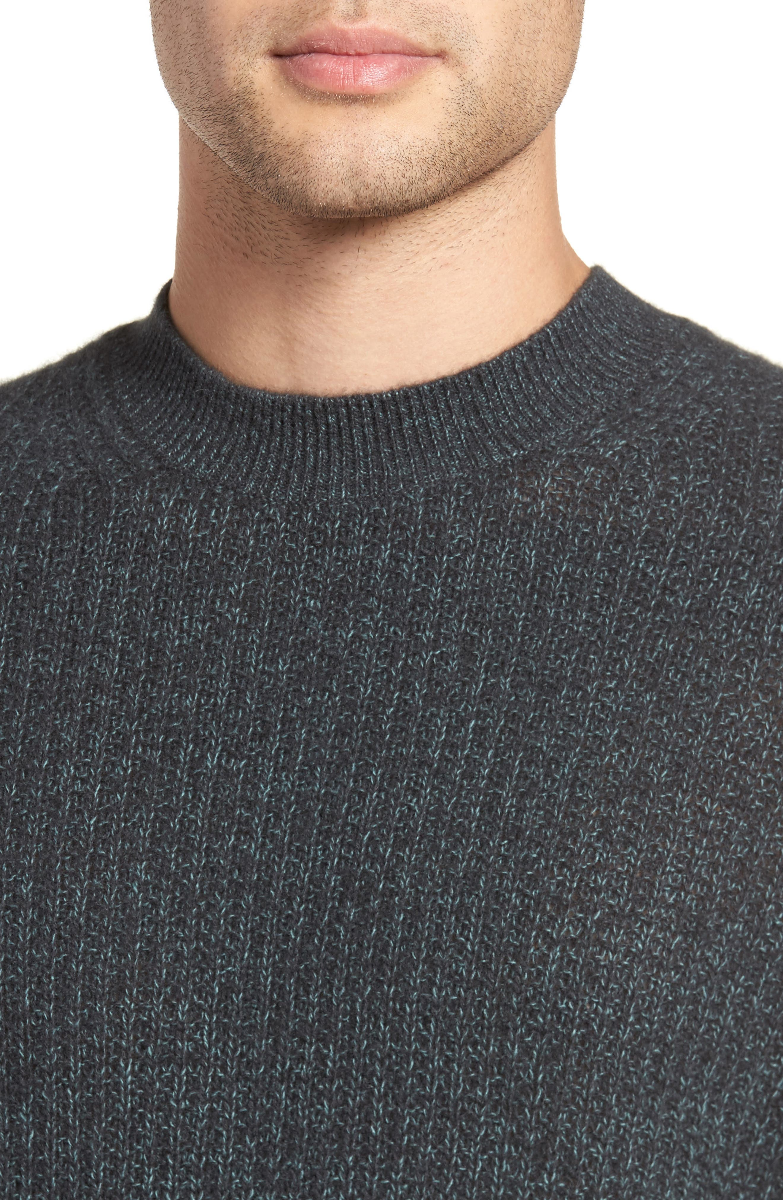 Thermal Knit Crewneck Cashmere Sweater,                             Alternate thumbnail 4, color,                             Beetle/ Mint