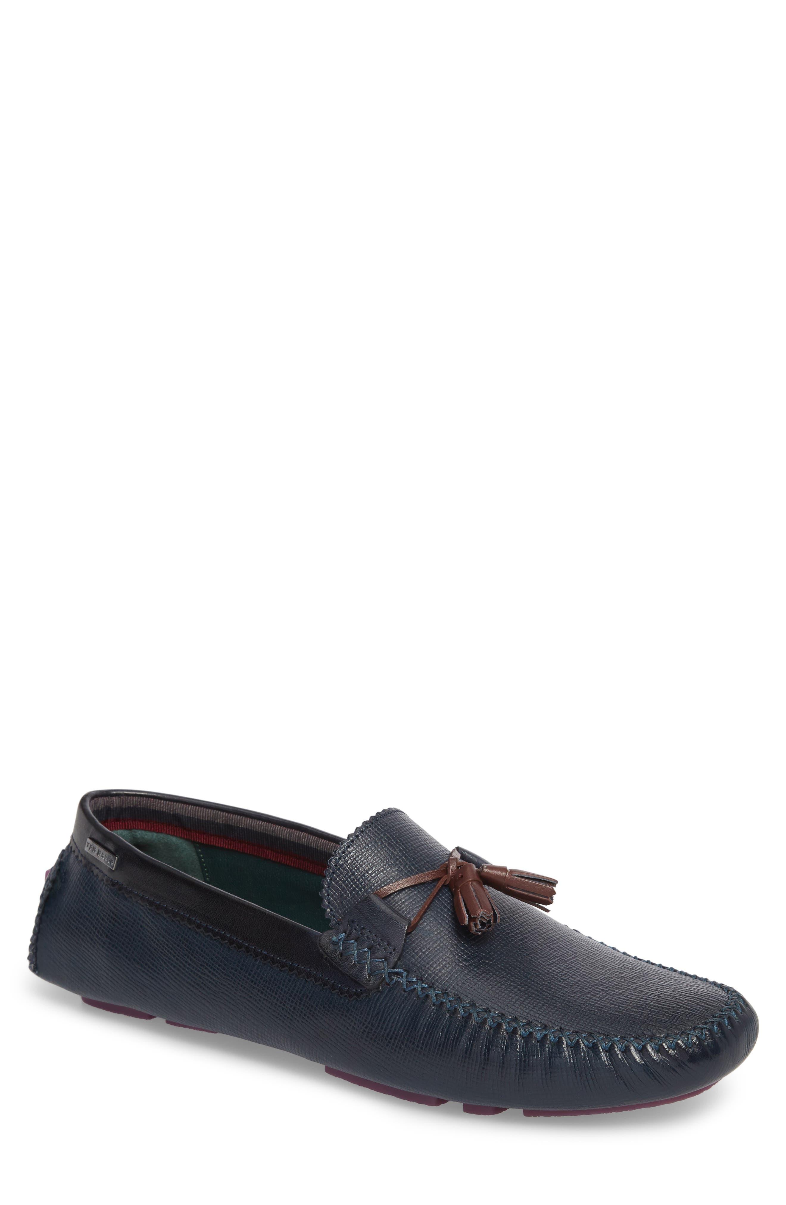 Urbonn Tasseled Driving Loafer,                         Main,                         color, Dark Blue Leather