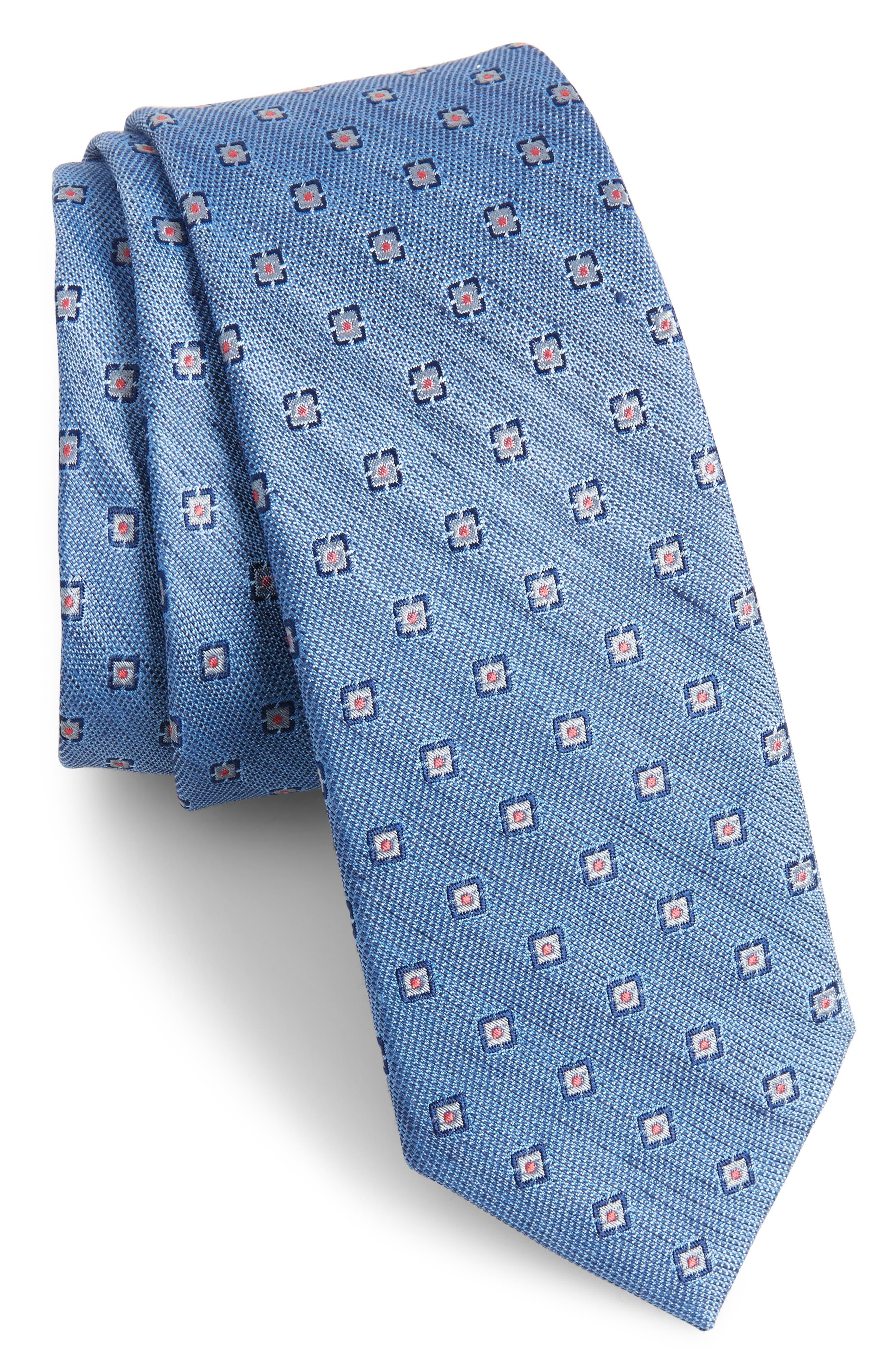Medallion Scene Silk & Linen Skinny Tie,                             Main thumbnail 1, color,                             Light Blue