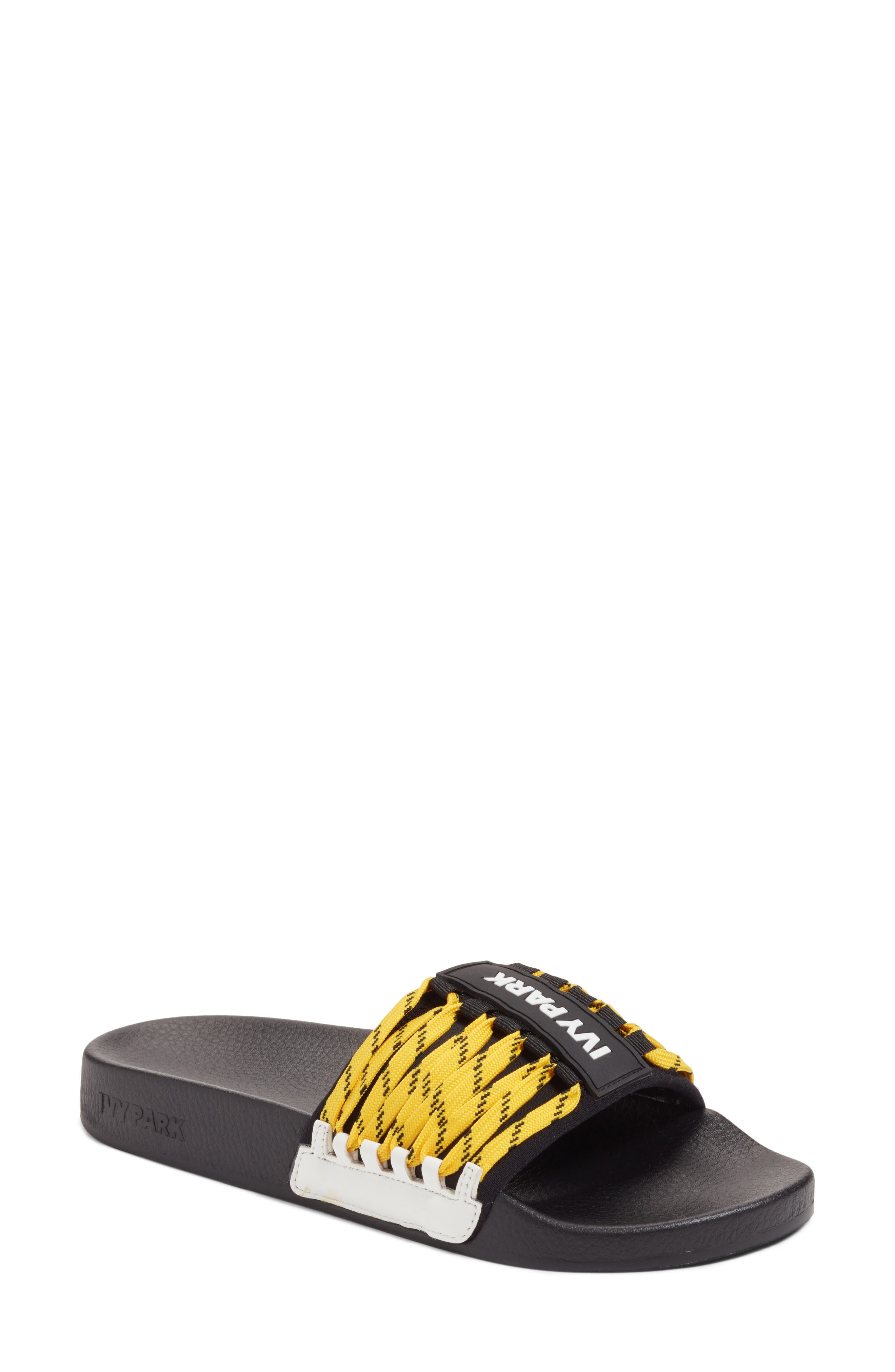 Lace-Up Slide Sandal,                             Main thumbnail 1, color,                             Black