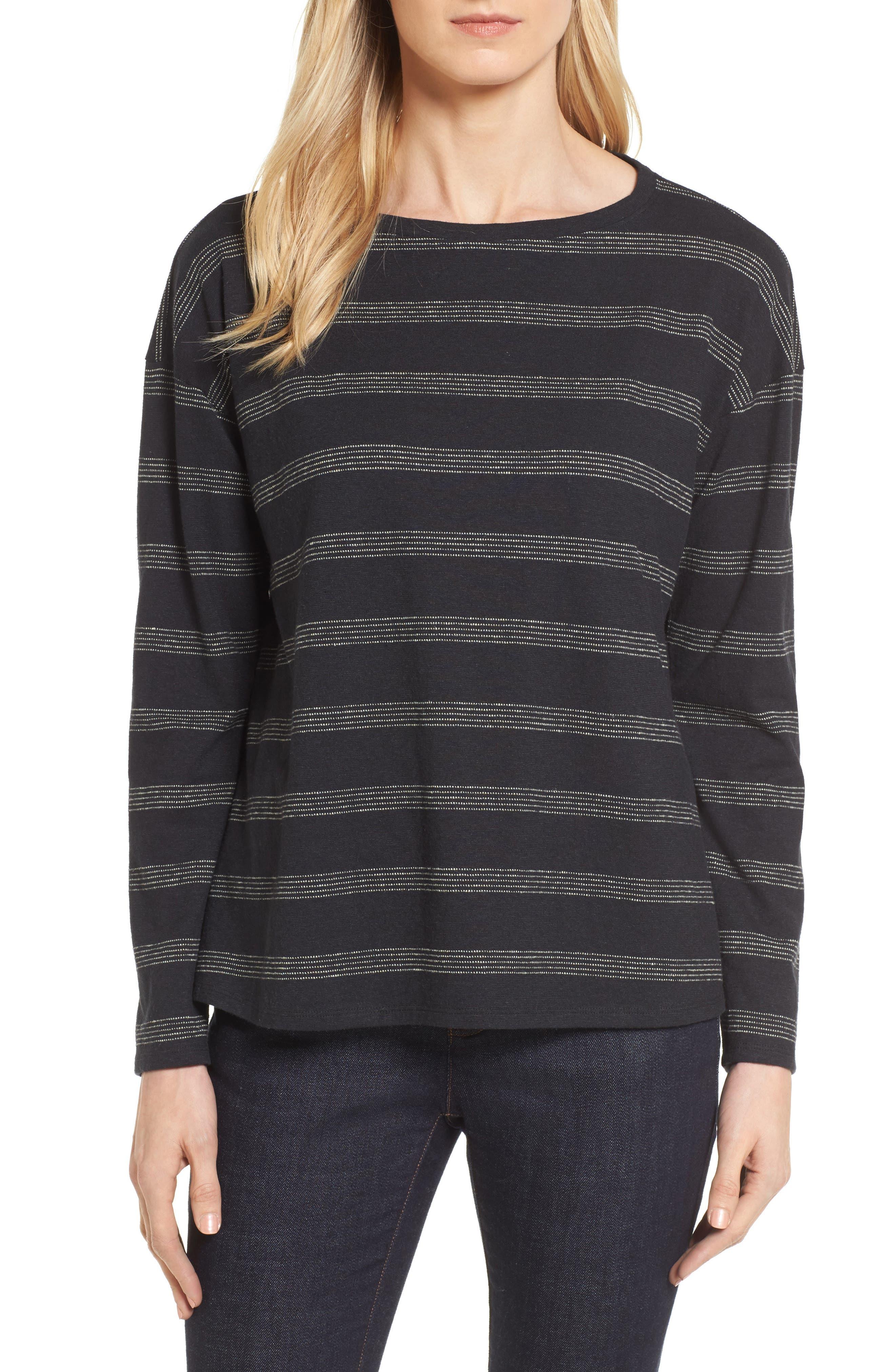 Stripe Hemp & Organic Cotton Top,                             Main thumbnail 1, color,                             Black