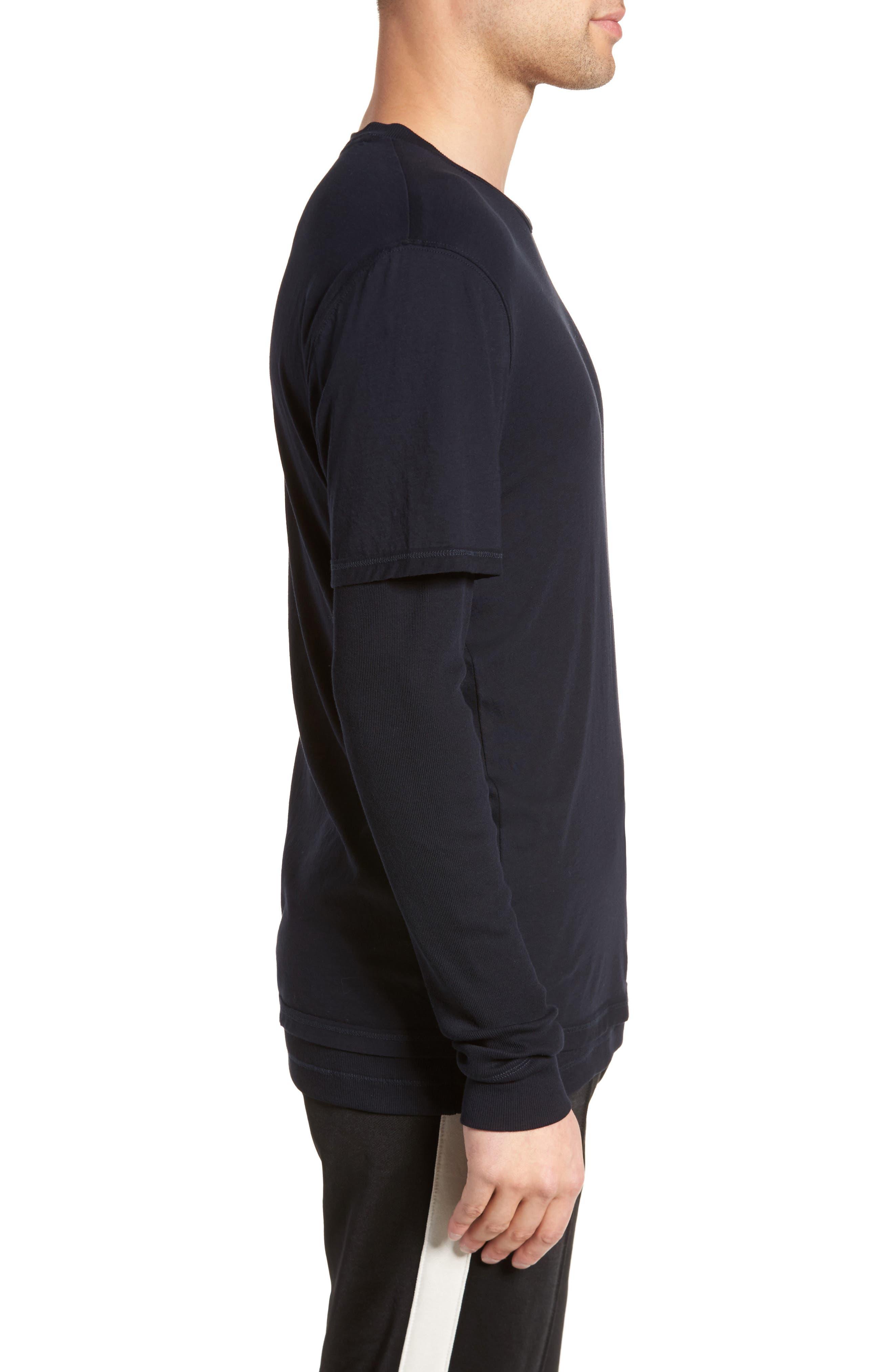Layered Long Sleeve T-Shirt,                             Alternate thumbnail 3, color,                             Black
