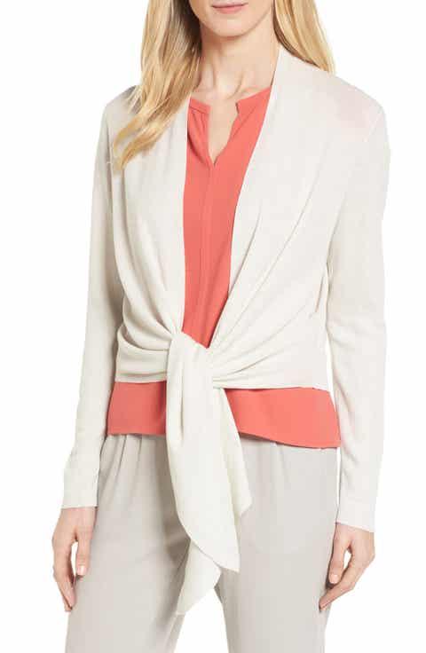 Eileen Fisher Silk & Cotton Wrap Cardigan