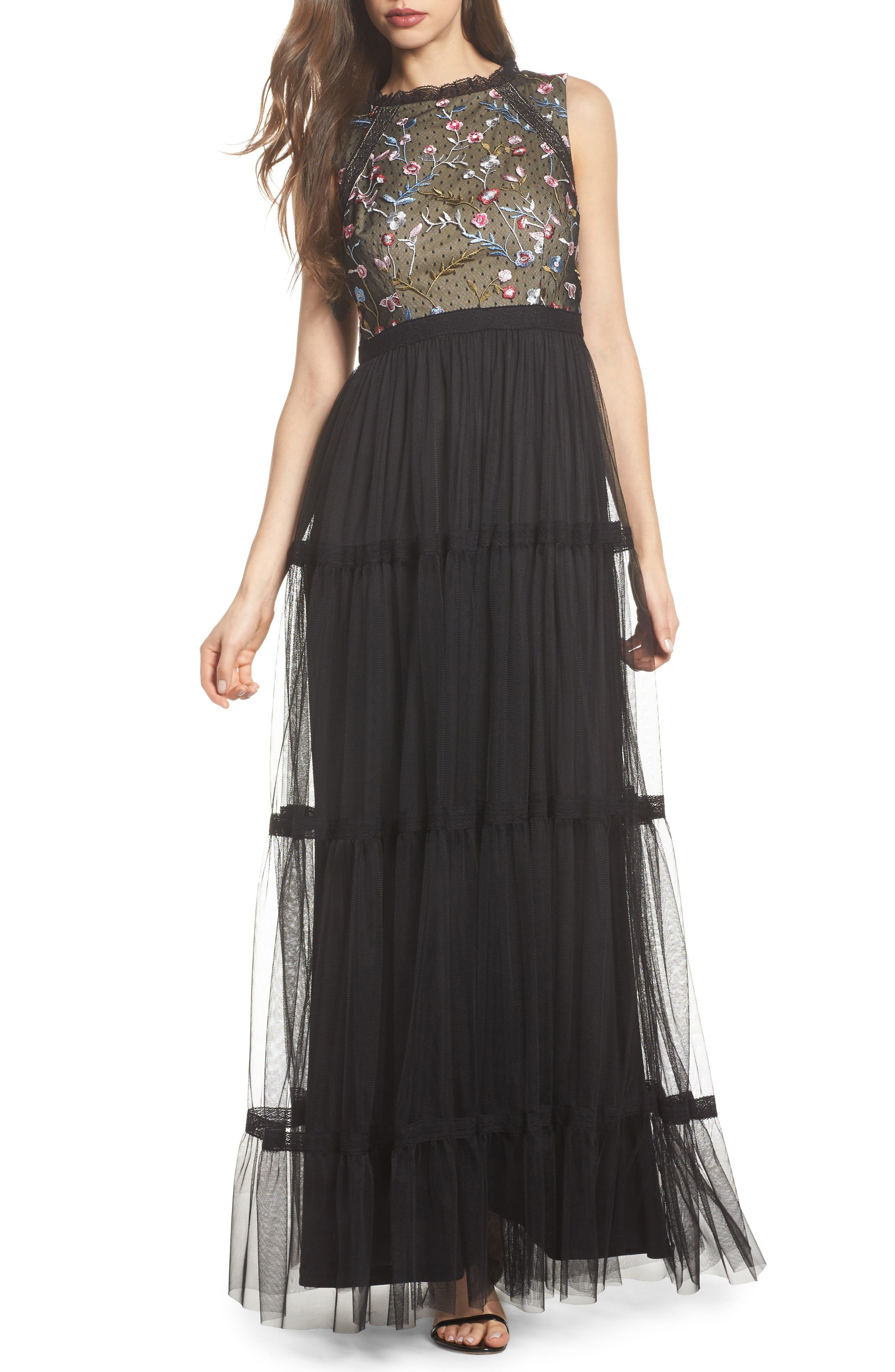 Embroidered Tiered Tulle Gown,                         Main,                         color, Black Multi