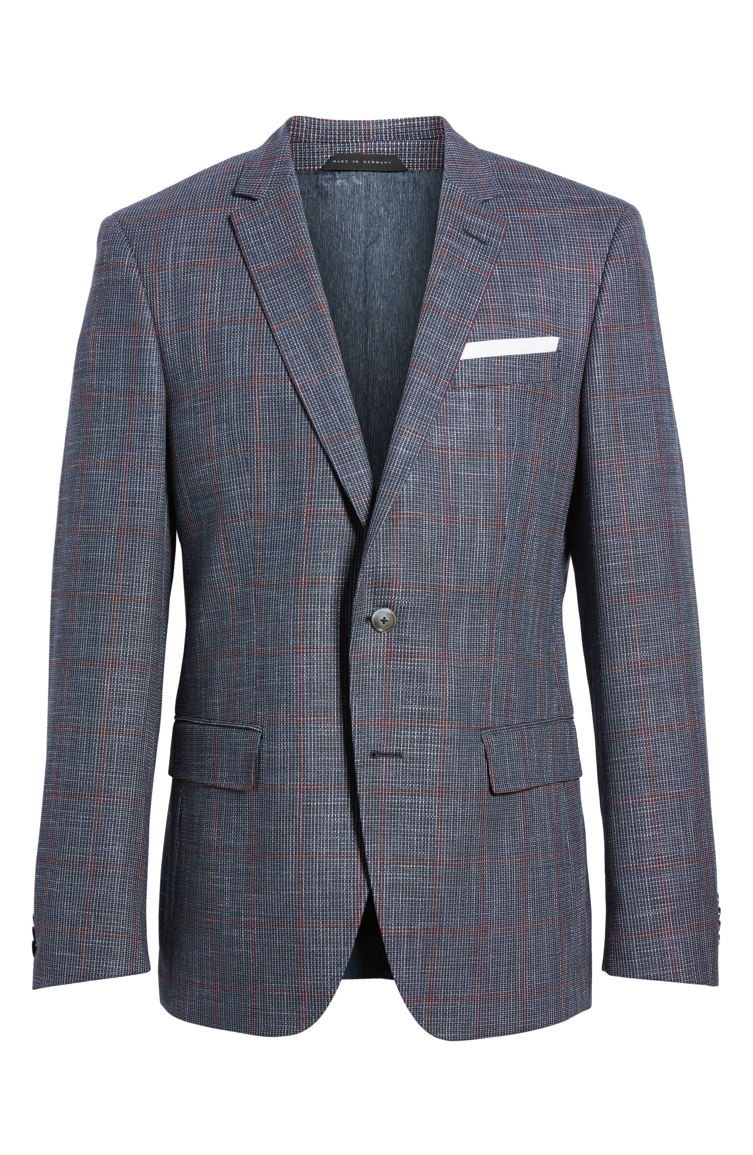 Hutsons Trim Fit Stretch Windowpane Wool Blend Sport Coat,                             Alternate thumbnail 6, color,                             Open Blue