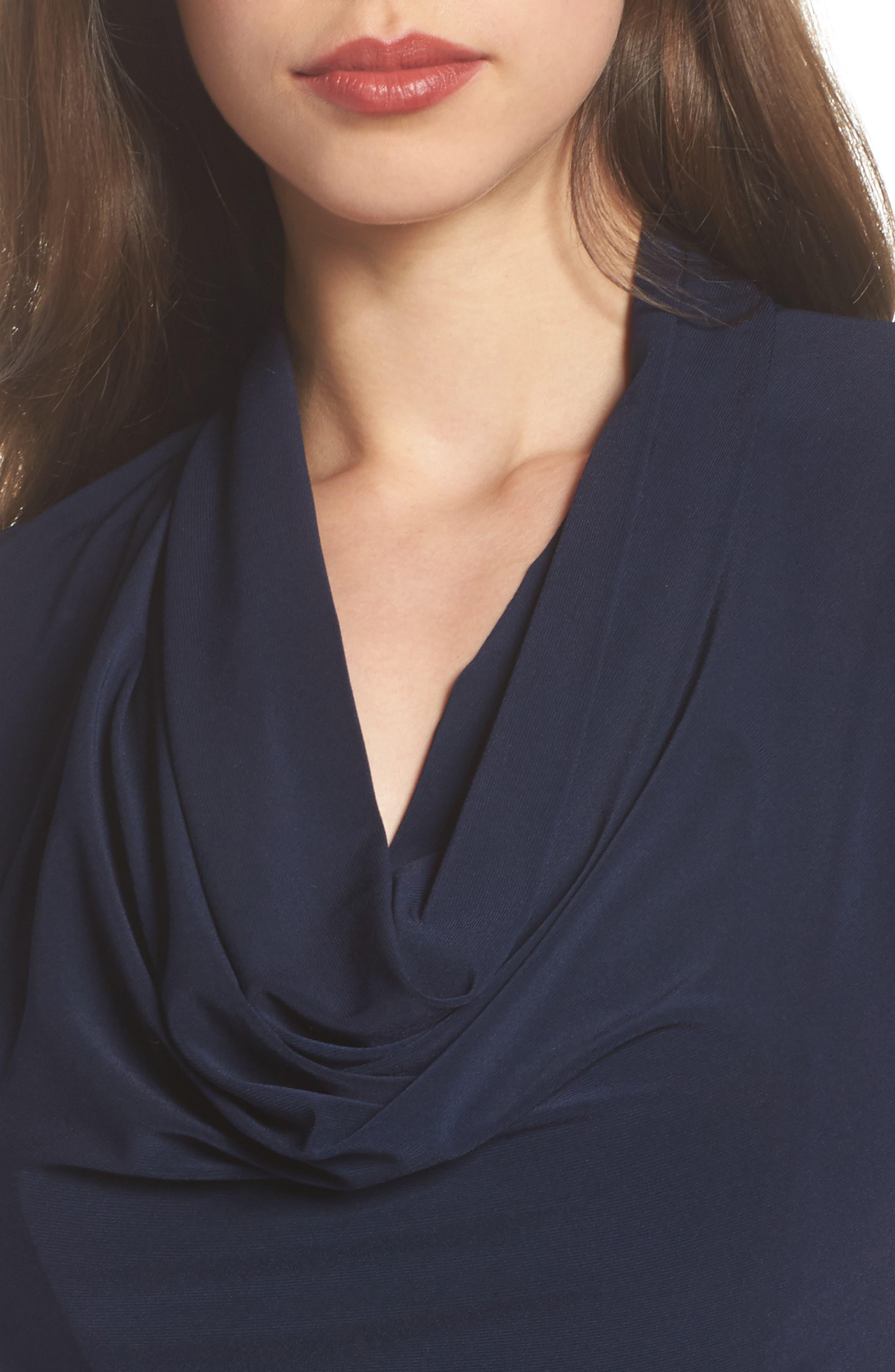 Draped Jersey Maxi Dress,                             Alternate thumbnail 4, color,                             Midnight