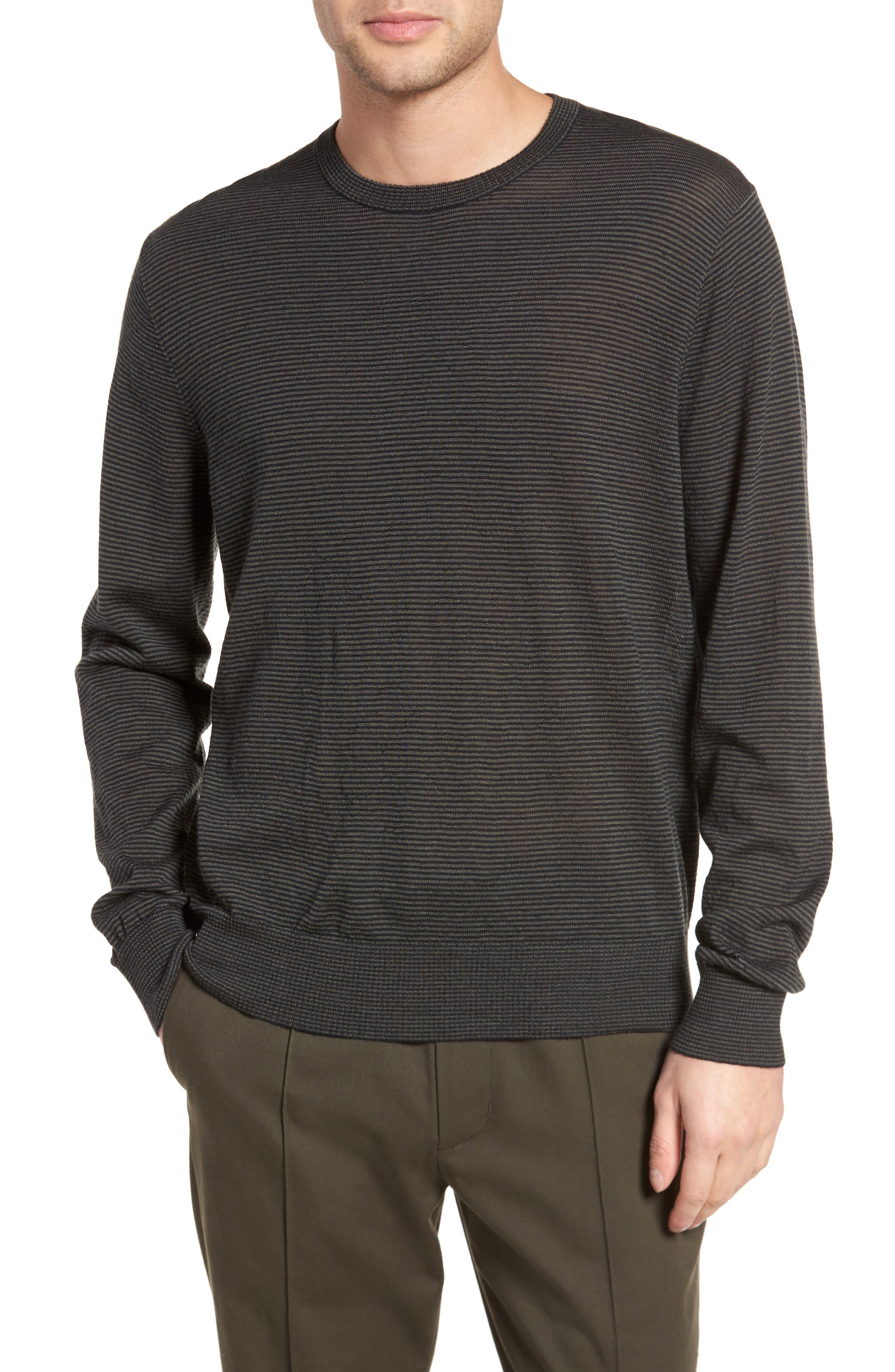 Regular Fit Pinstripe Wool Sweater,                         Main,                         color, New Coastal/ H Charcoal