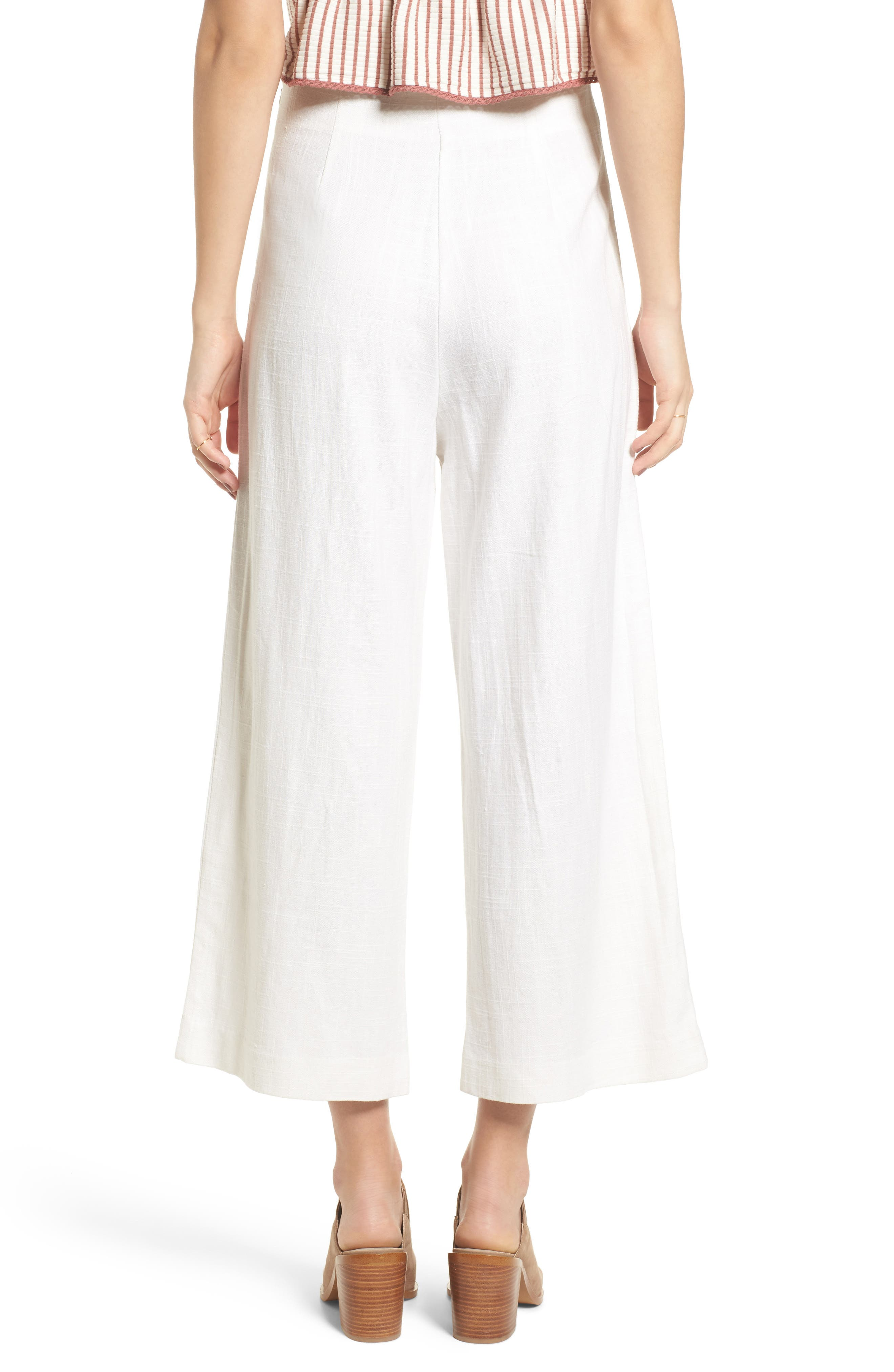 Linen High Waist Crop Pants,                             Alternate thumbnail 3, color,                             White