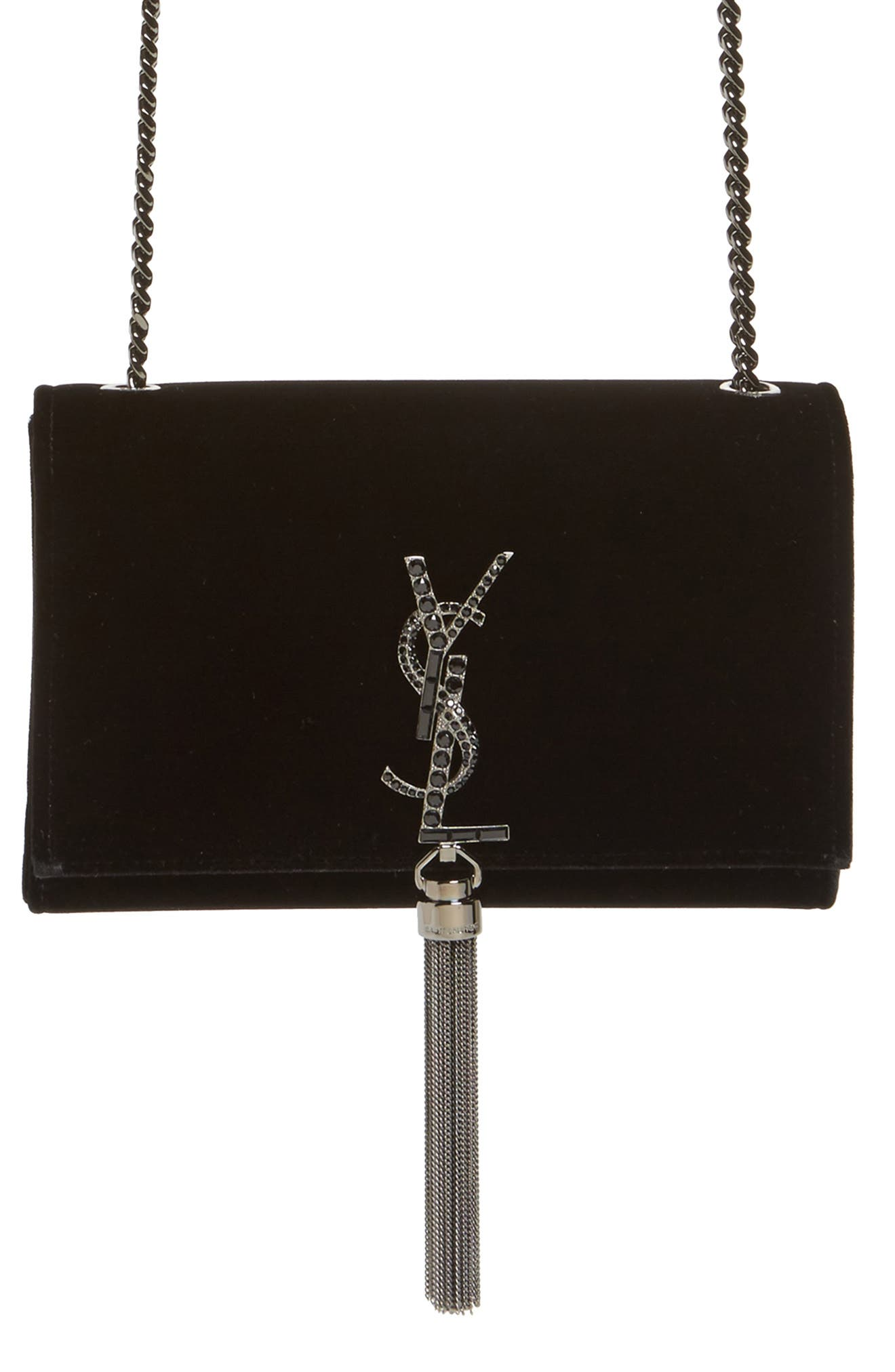 Small Kate Velvet Crossbody Bag,                             Main thumbnail 1, color,                             Noir