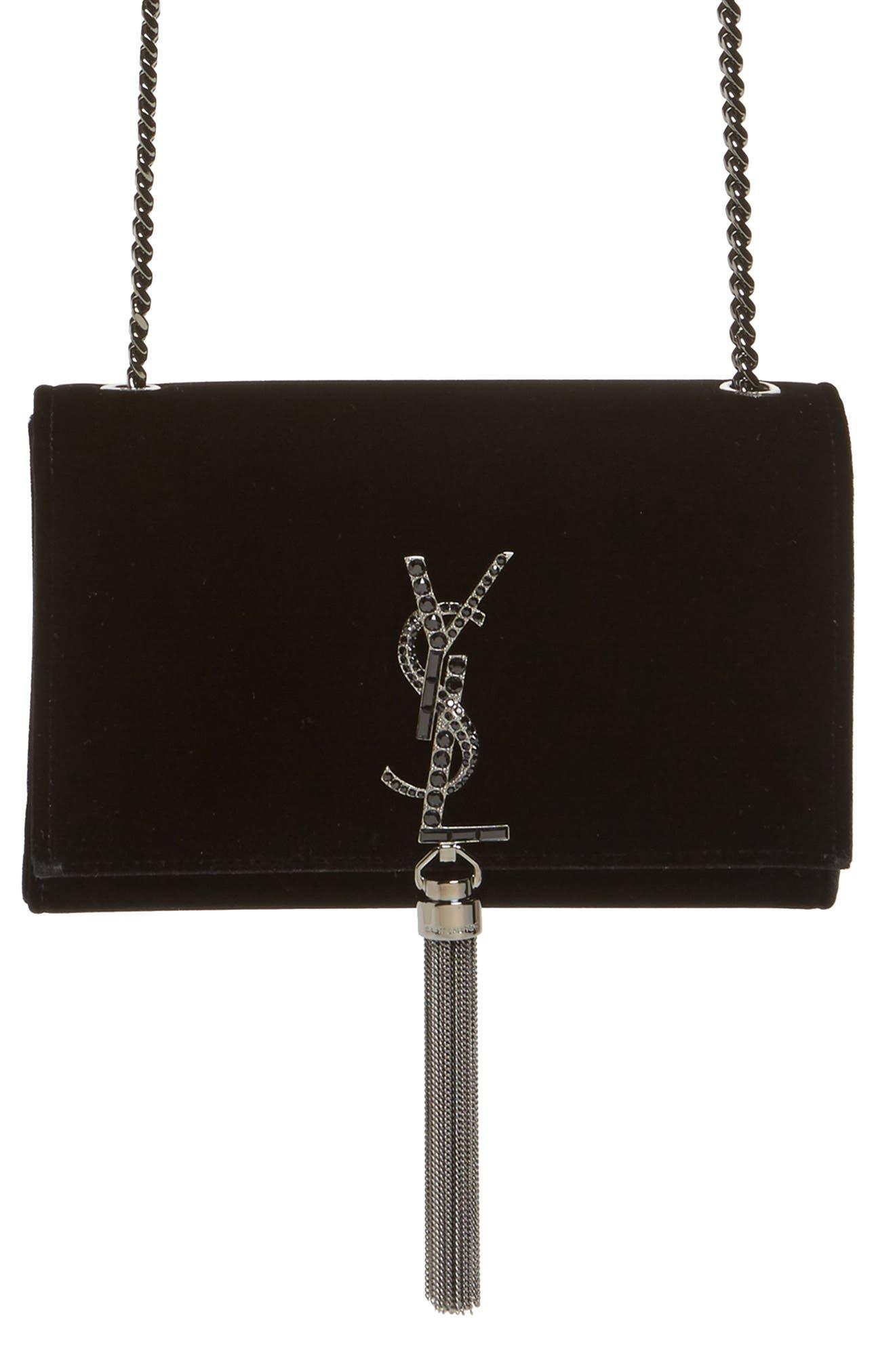 Saint Laurent Small Kate Velvet Crossbody Bag