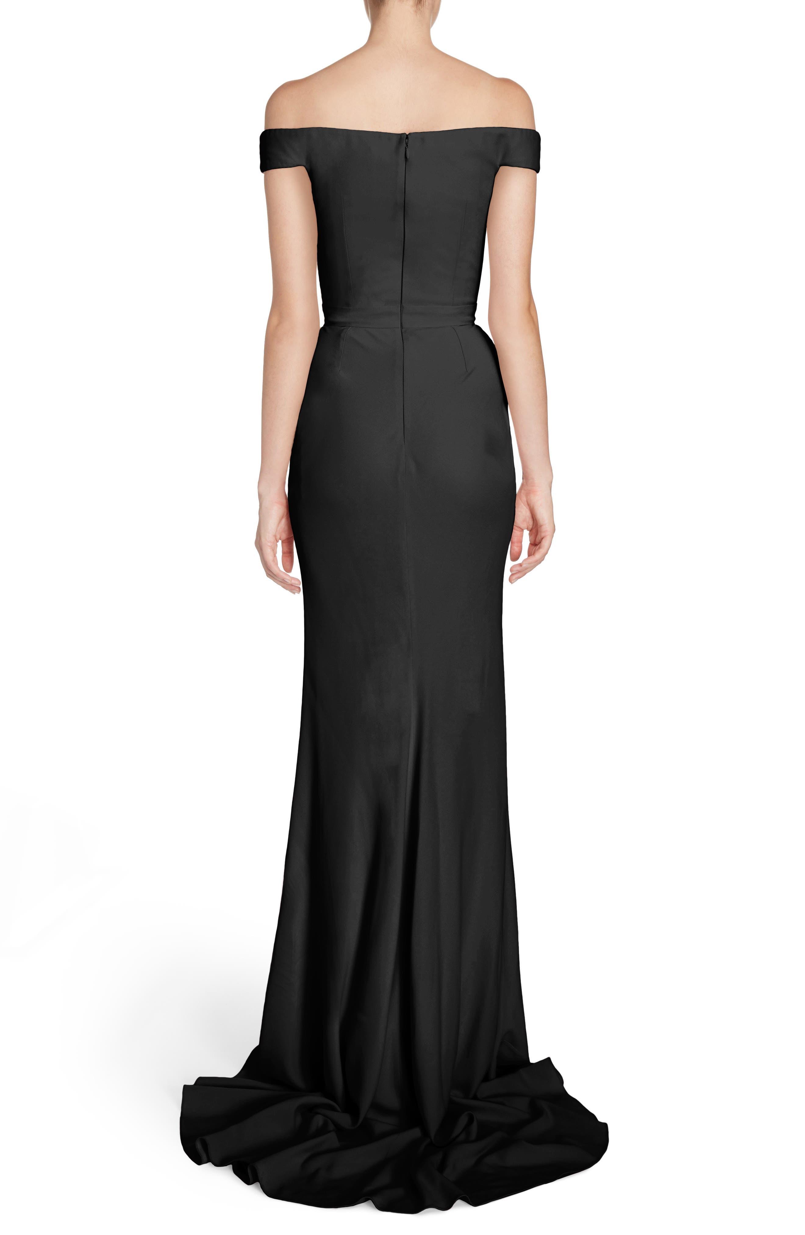 Crepe Off the Shoulder Gown,                             Alternate thumbnail 2, color,                             Black