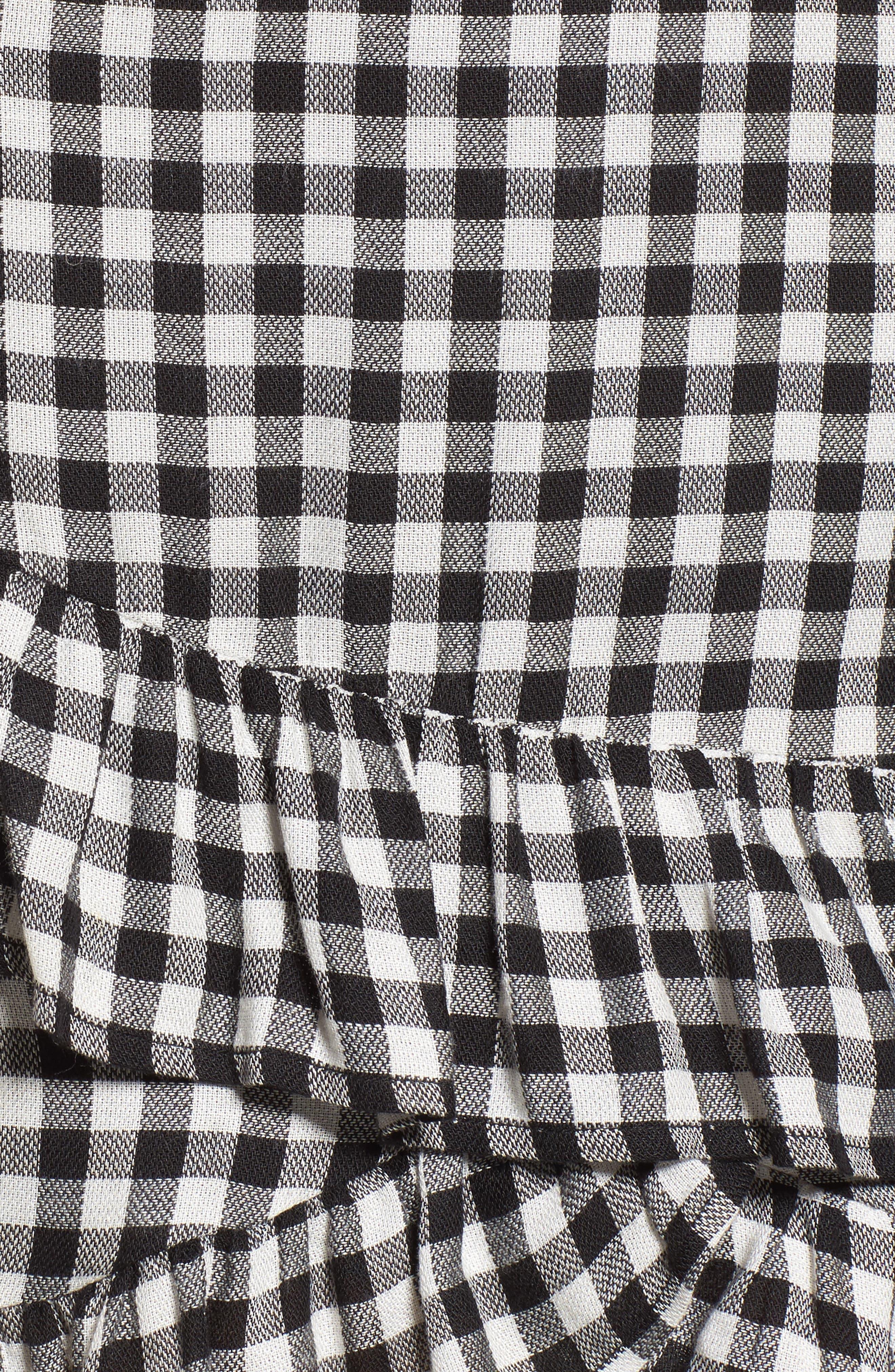 Day Trip Gingham Ruffle Skirt,                             Alternate thumbnail 6, color,                             Black