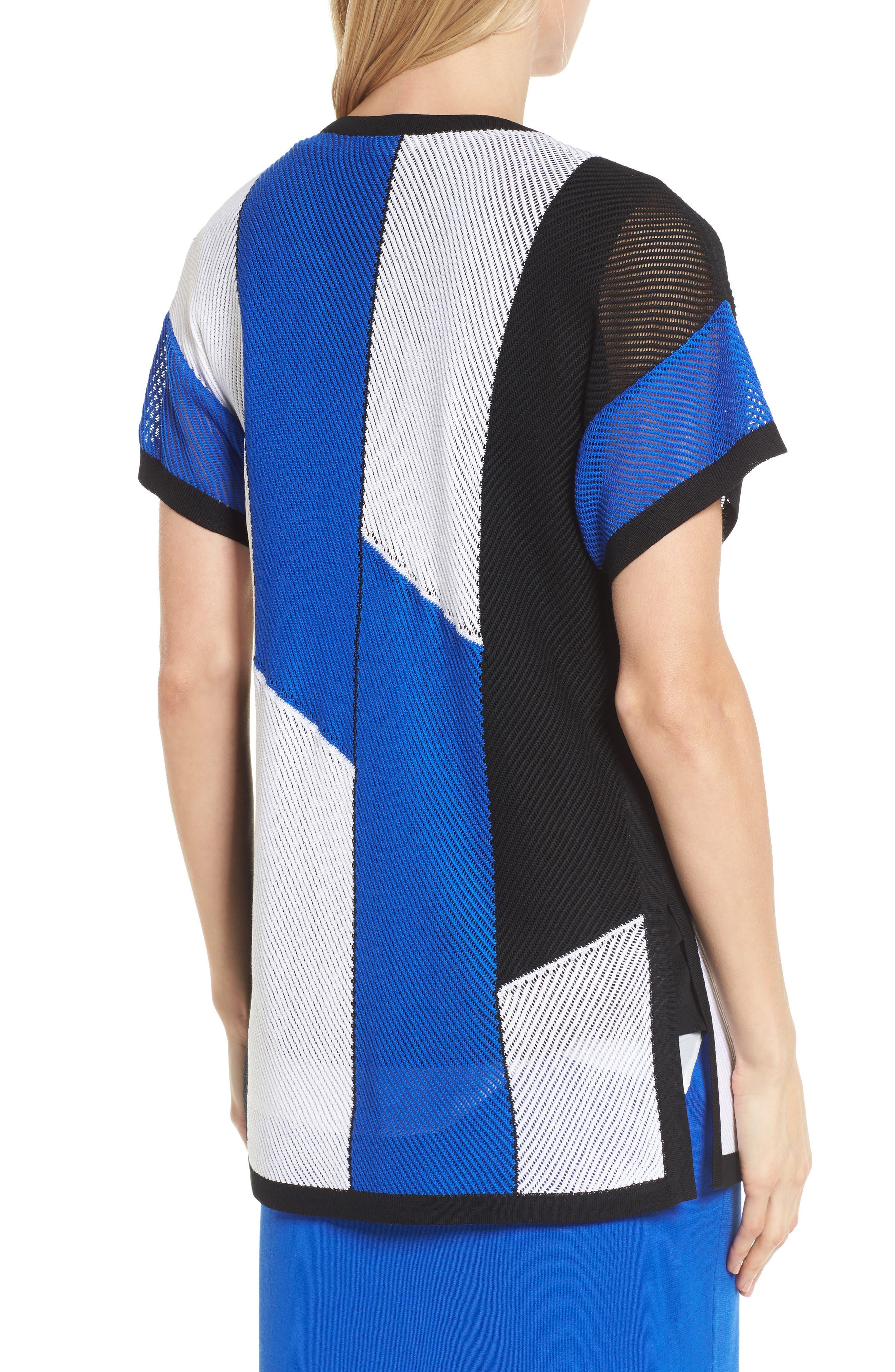 Colorblock Short Sleeve Cardigan,                             Alternate thumbnail 2, color,                             White/ Black/ Patriot Blue