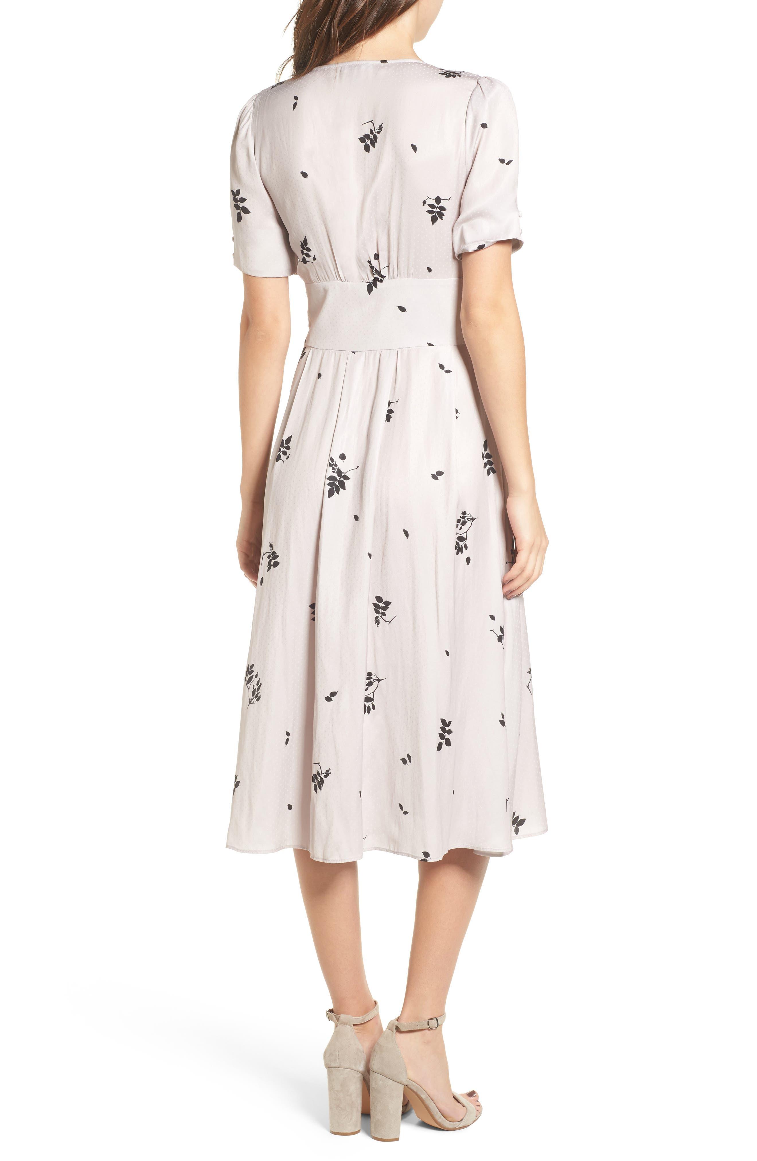 Textured Fit & Flare Midi Dress,                             Alternate thumbnail 2, color,                             Pink Hush Falling Leaves