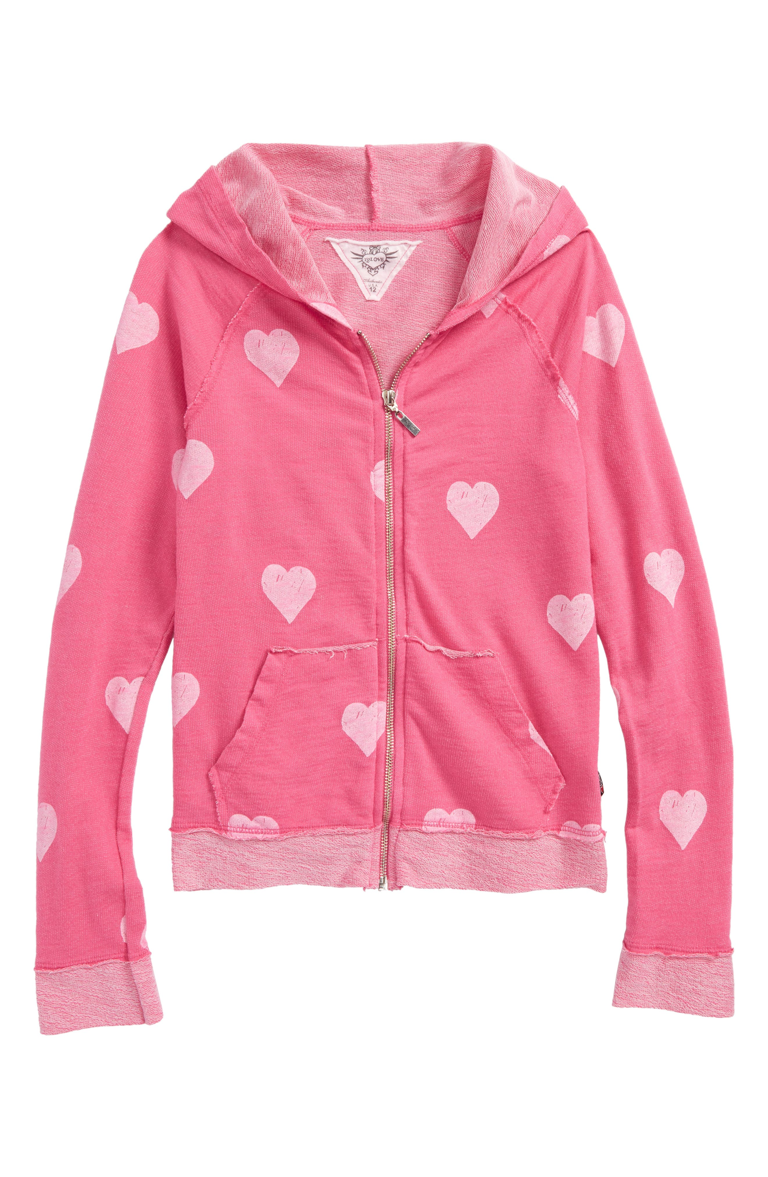 Allover Heart Zip Hoodie,                         Main,                         color, Hot Pink