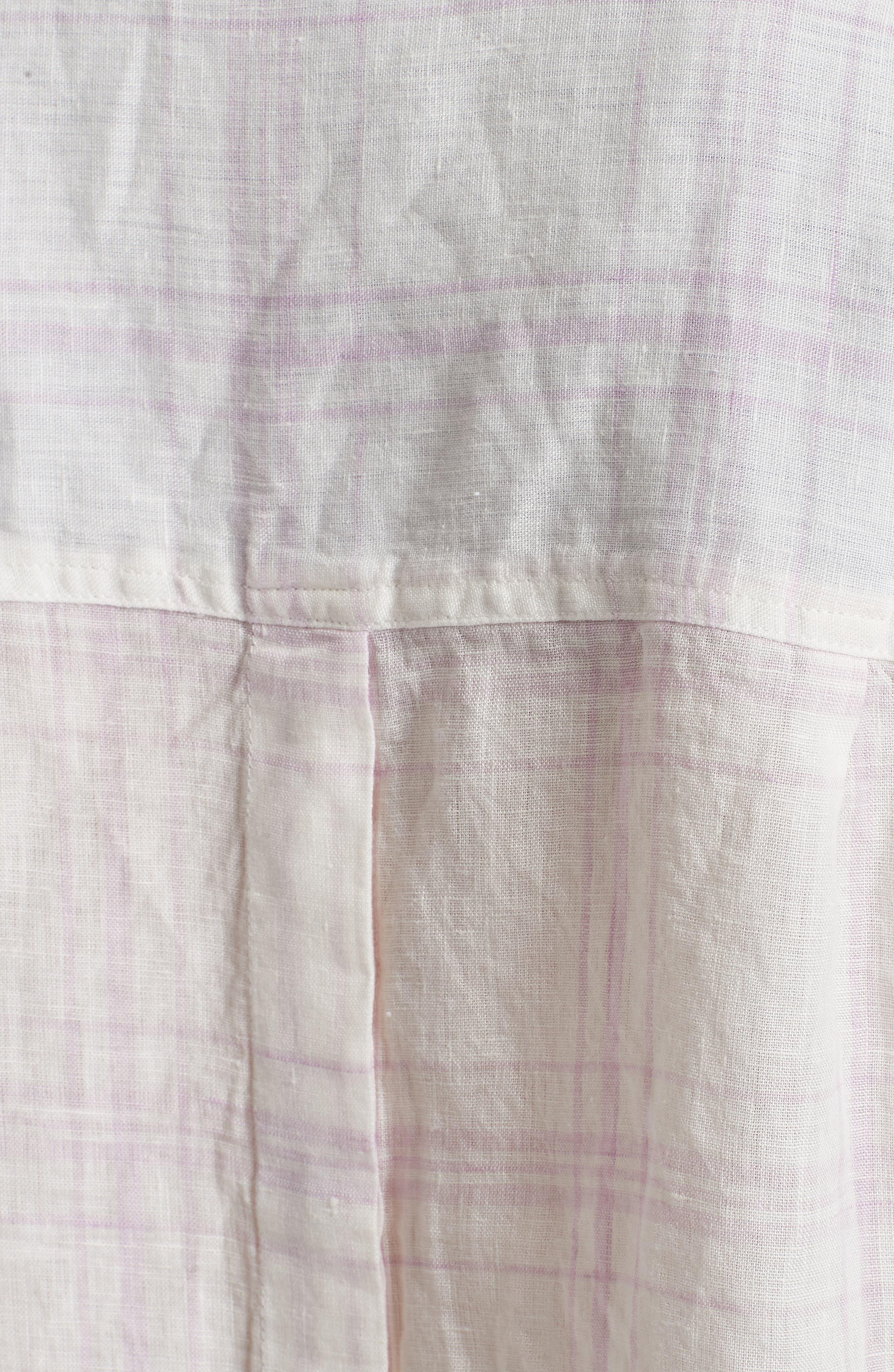 No Limits Plaid Linen Shirt,                             Alternate thumbnail 5, color,                             Lilac