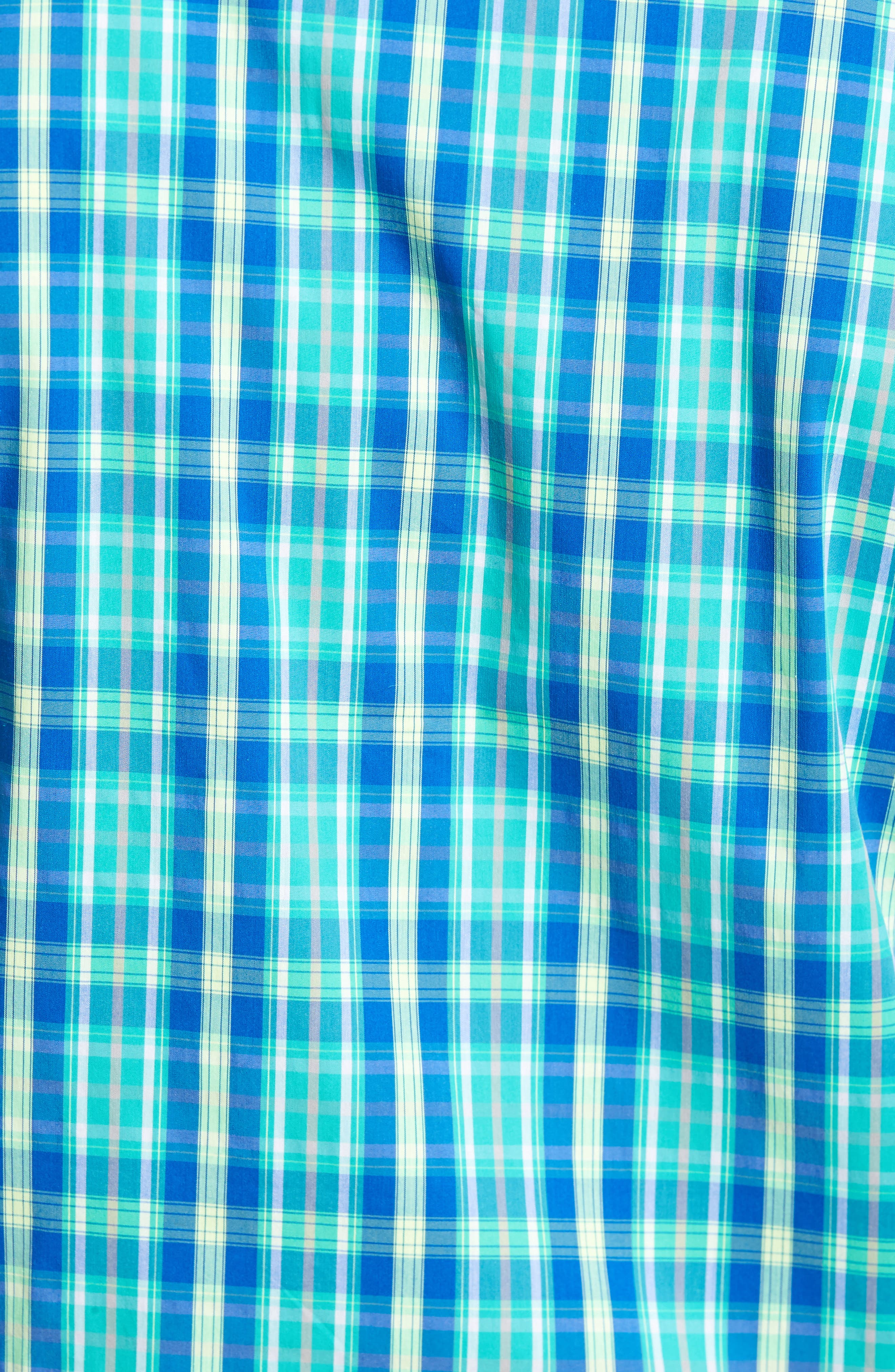 Carter Plaid Performance Sport Shirt,                             Alternate thumbnail 5, color,                             Dart