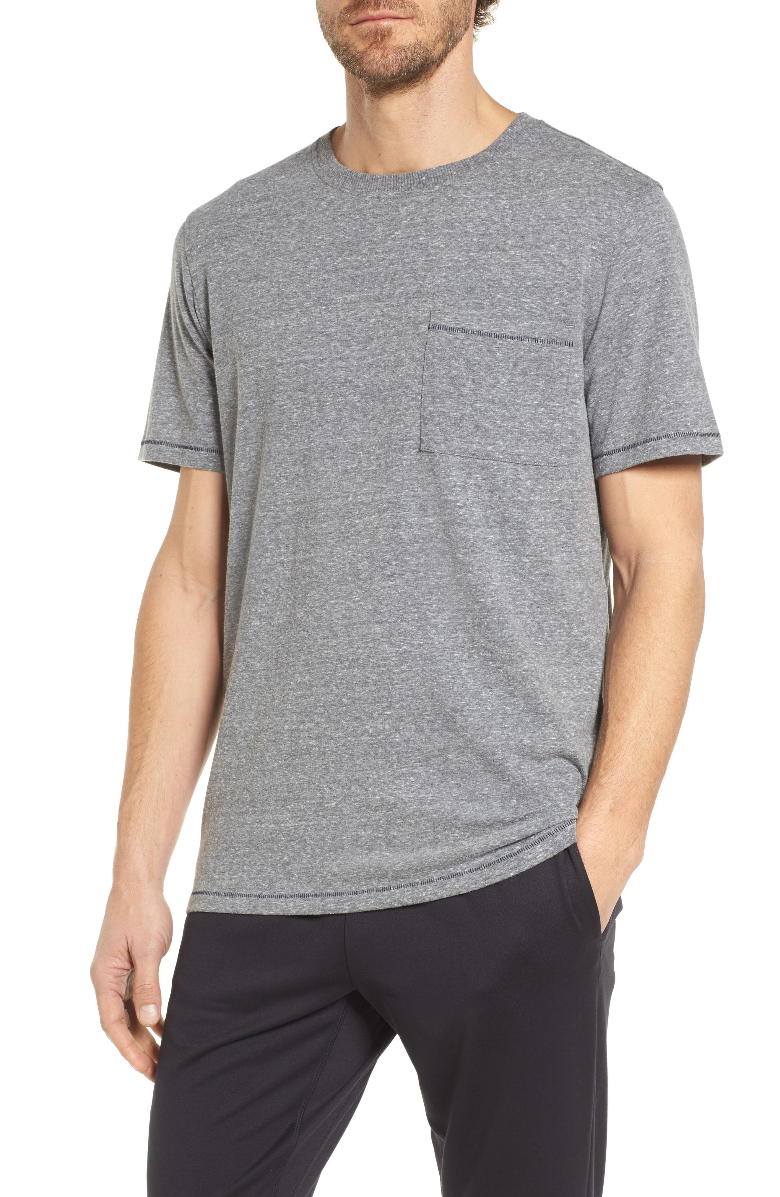 Benjamin Crewneck T-Shirt,                         Main,                         color, Grey Heather