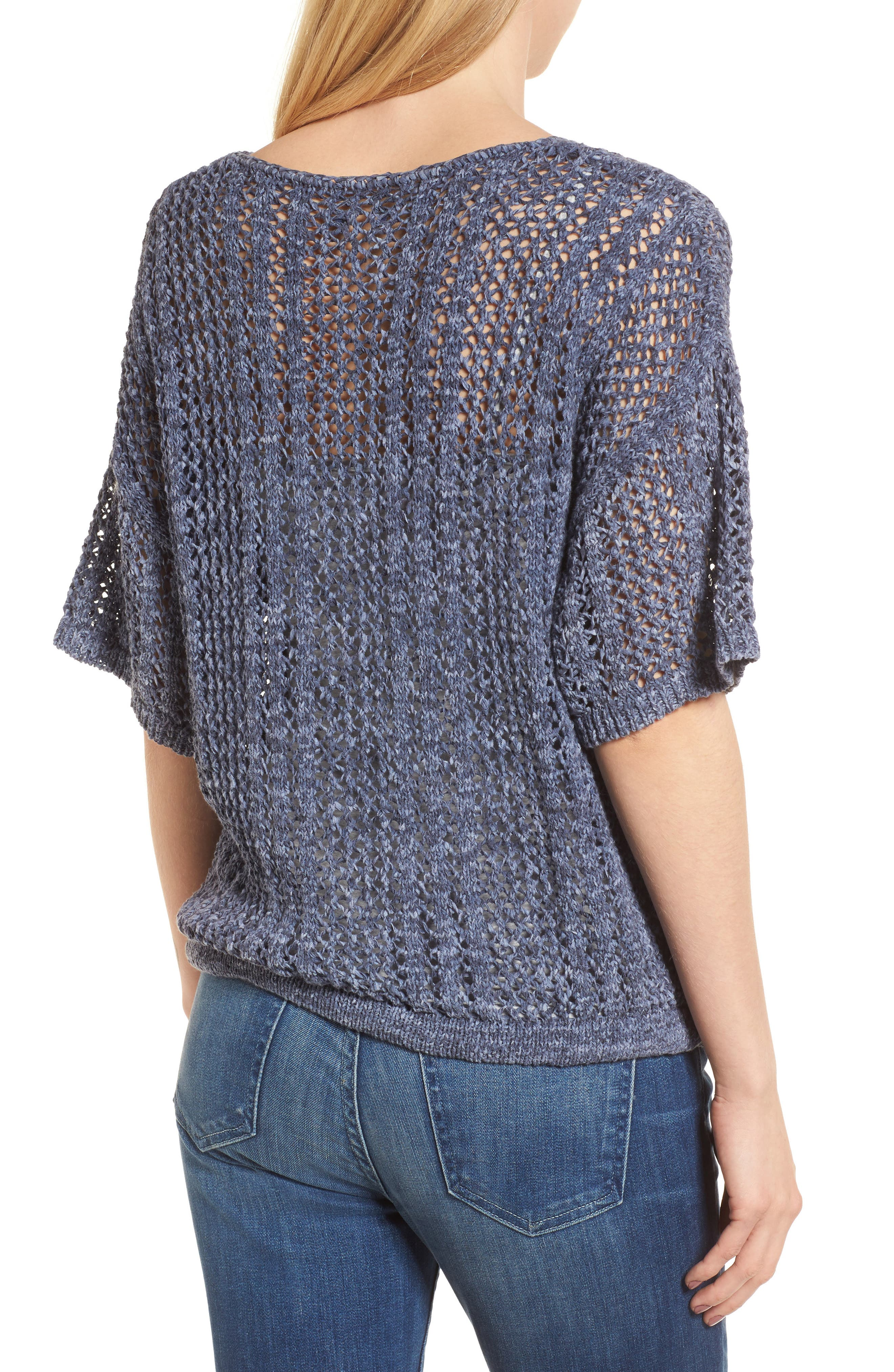 Knox Crochet Sweater,                             Alternate thumbnail 2, color,                             Navy
