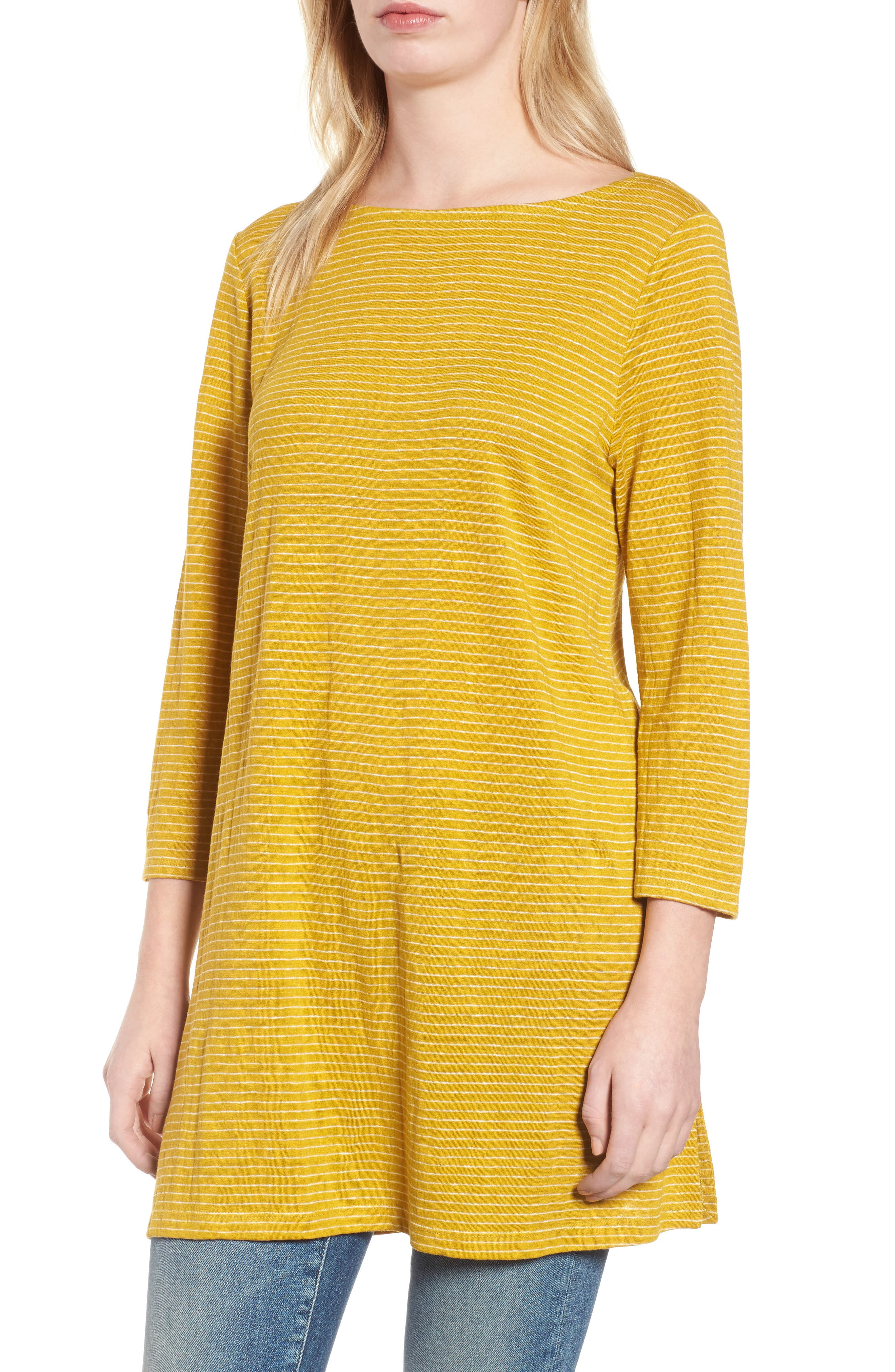 Organic Linen Tunic,                         Main,                         color, Mustard Seed
