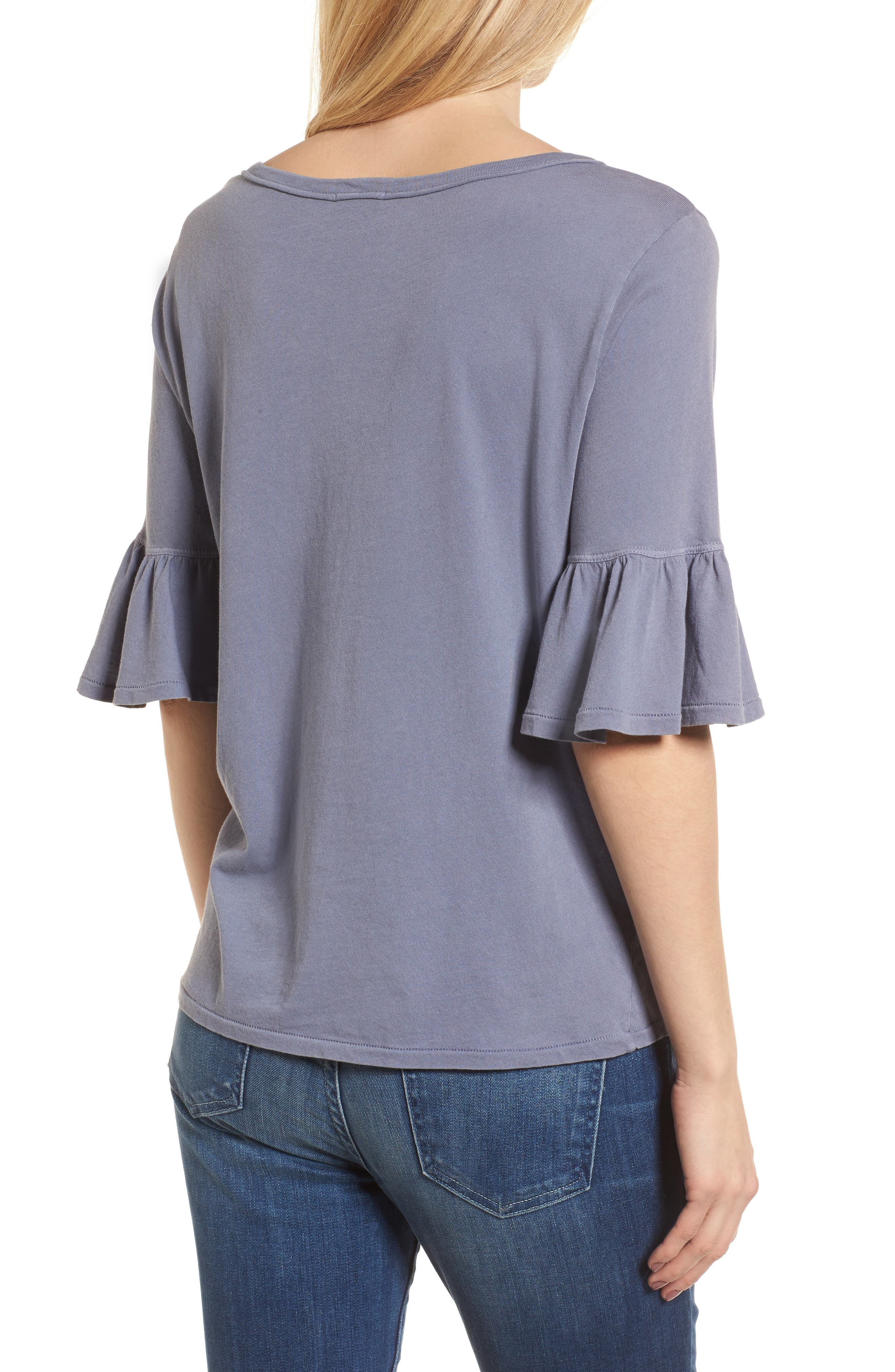 Ruffle Sleeve Knit Top,                             Alternate thumbnail 2, color,                             Shadow Purple