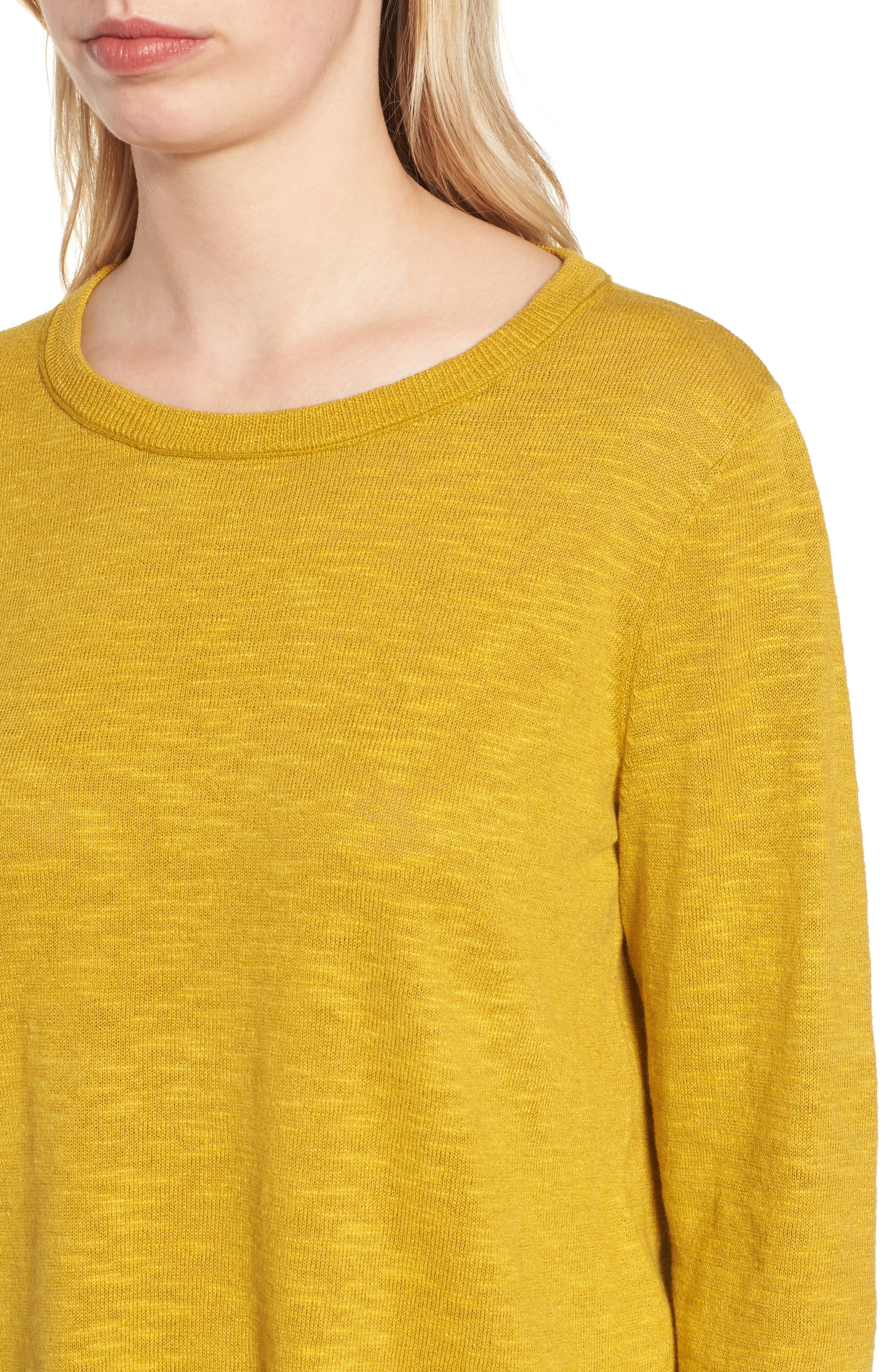 Organic Knit Crewneck Tunic Top,                             Alternate thumbnail 4, color,                             Mustard Seed