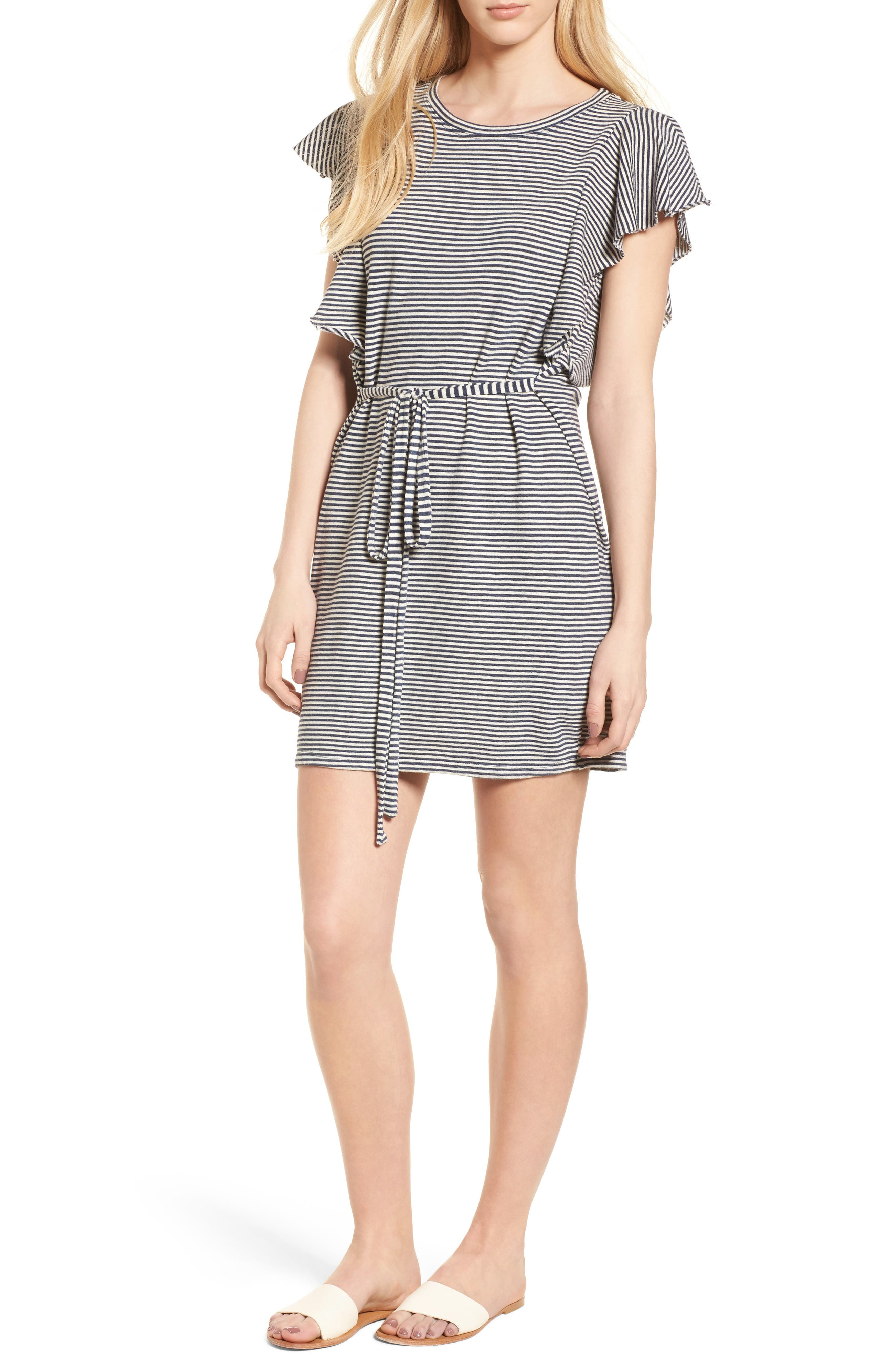 Stripe Ruffle Dress,                             Main thumbnail 1, color,                             Navy Off White
