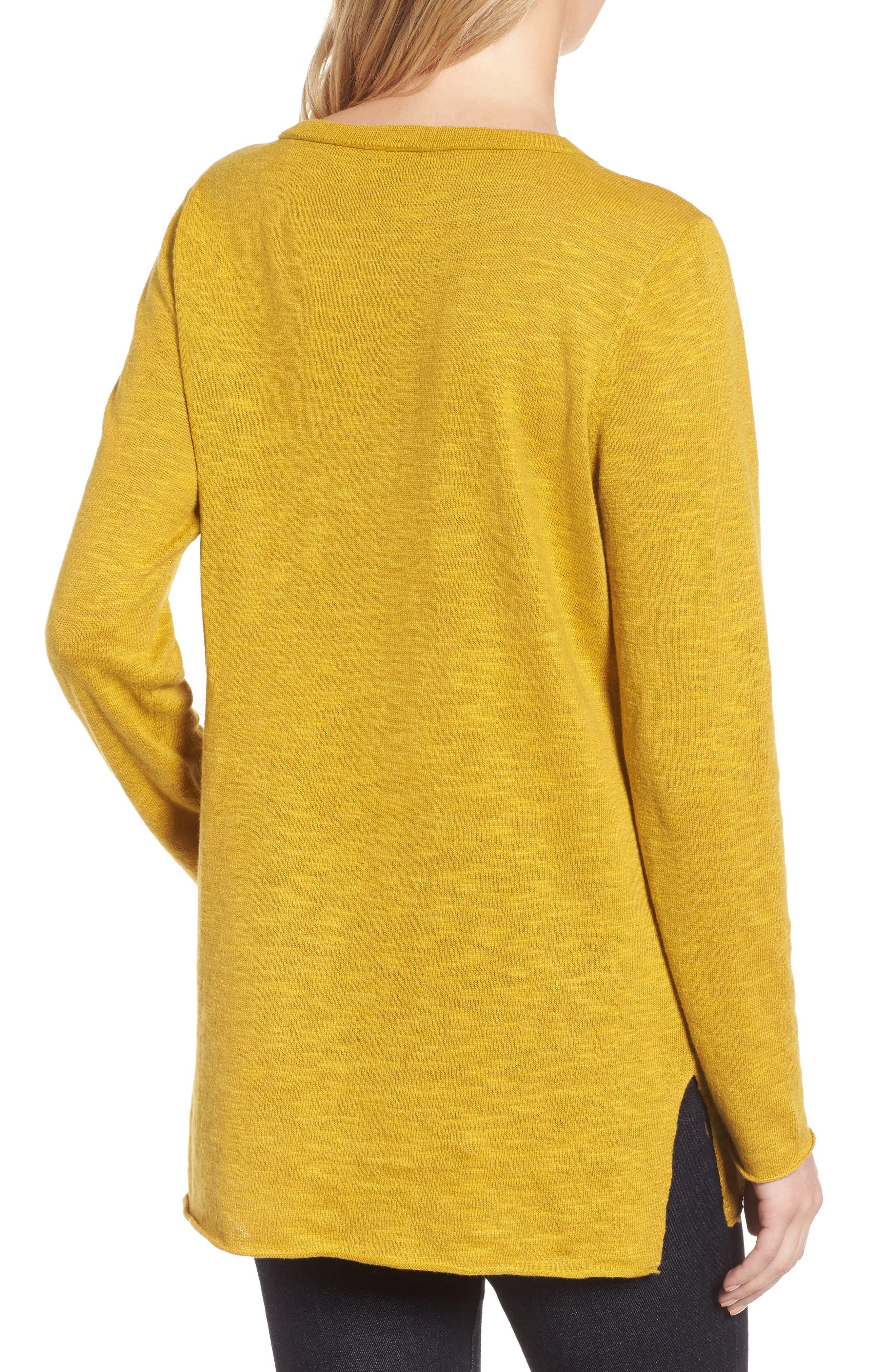 Organic Knit Crewneck Tunic Top,                             Alternate thumbnail 2, color,                             Mustard Seed