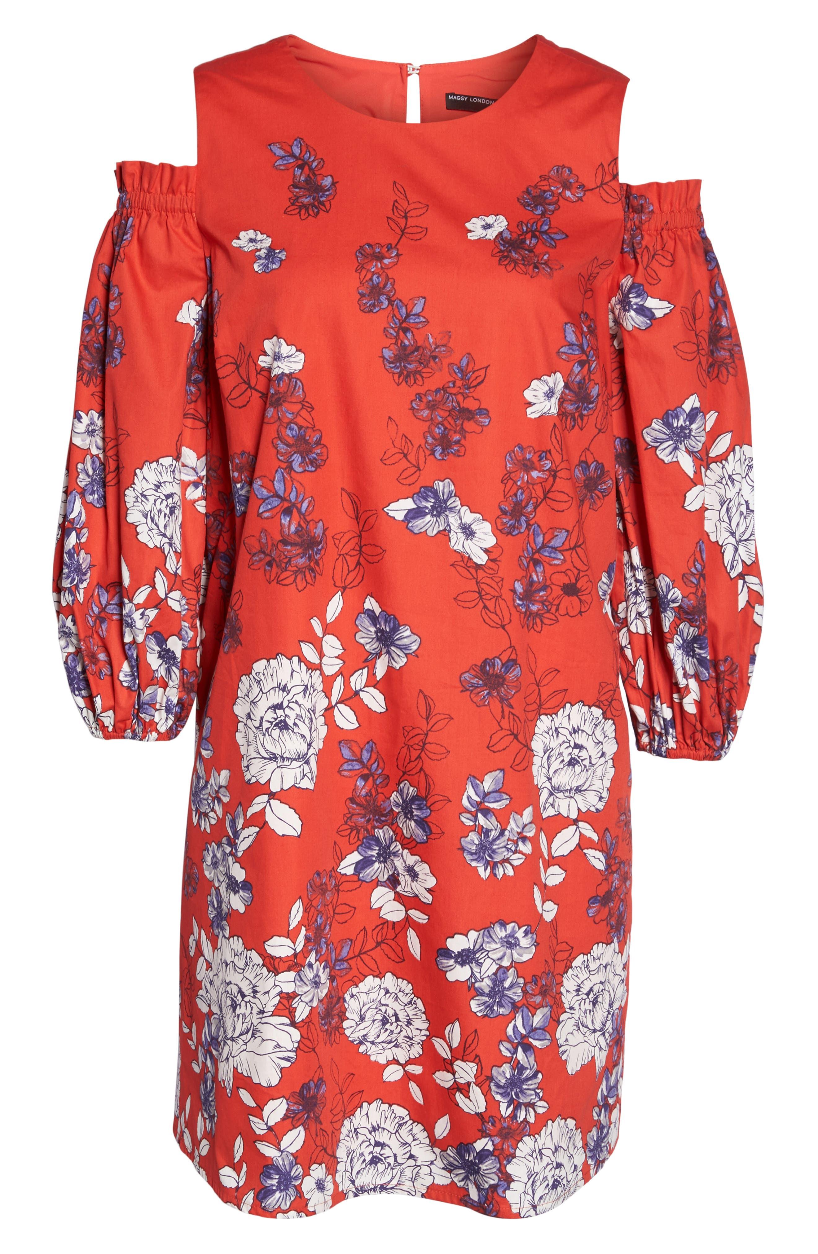 Print Sateen Cold Shoulder Shift Dress,                             Alternate thumbnail 6, color,                             Red/ Blue