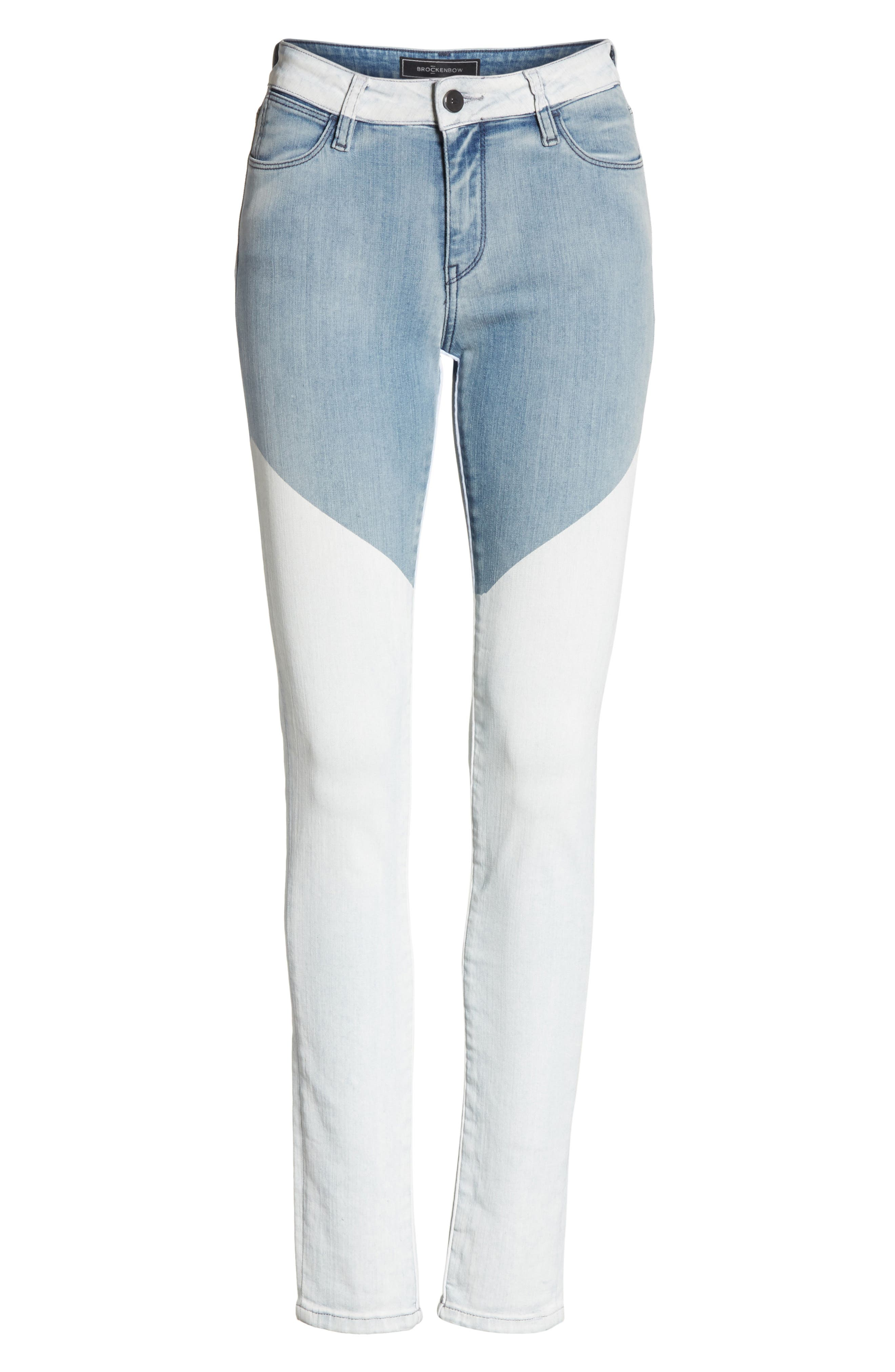 Alternate Image 6  - BROCKENBOW Emma Coated Skinny Jeans (Running Blue)
