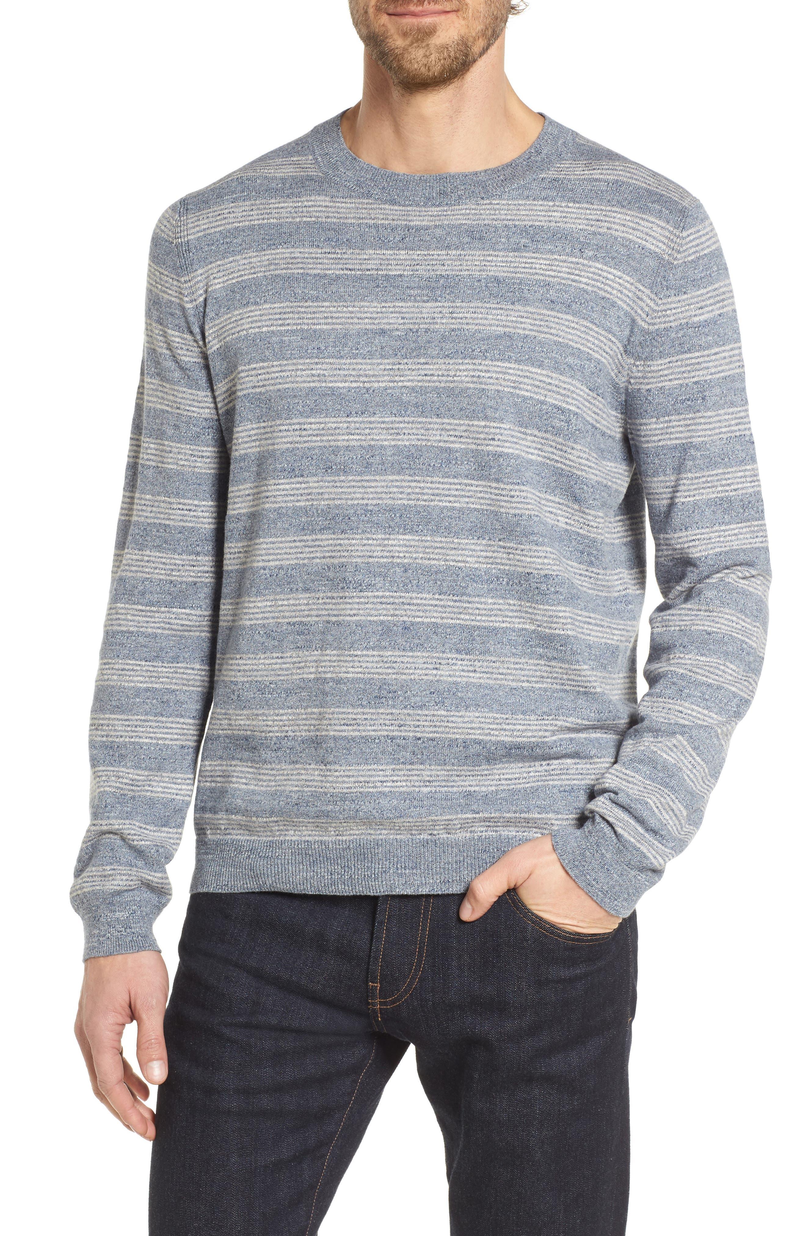 Stripe Cotton Sweater,                             Main thumbnail 1, color,                             Blue Grey Heather Stripe