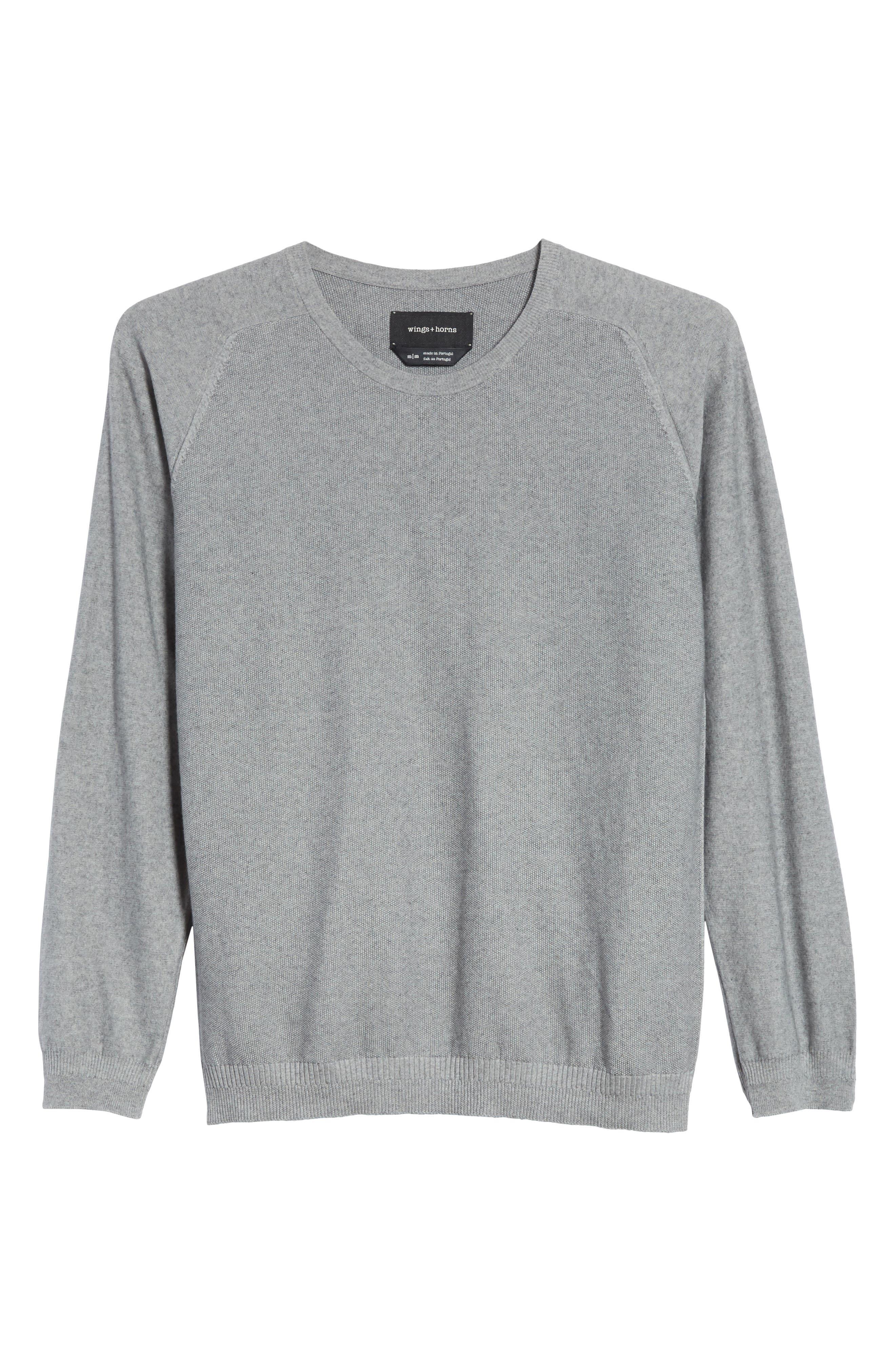 Cotton & Cashmere Sweater,                             Alternate thumbnail 6, color,                             Heather Grey