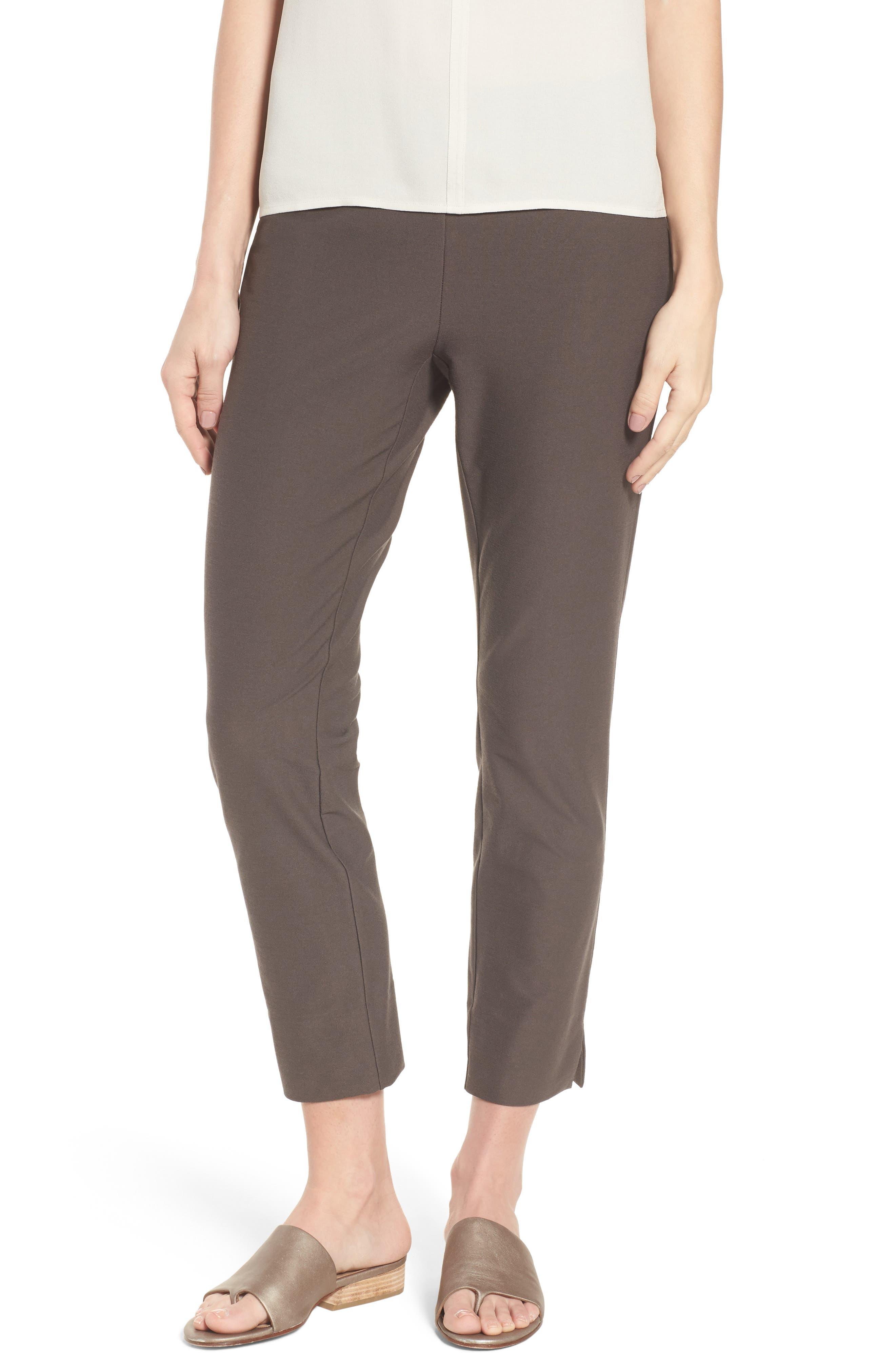 Alternate Image 1 Selected - Eileen Fisher Notch Cuff Slim Crop Pants (Regular & Petite)