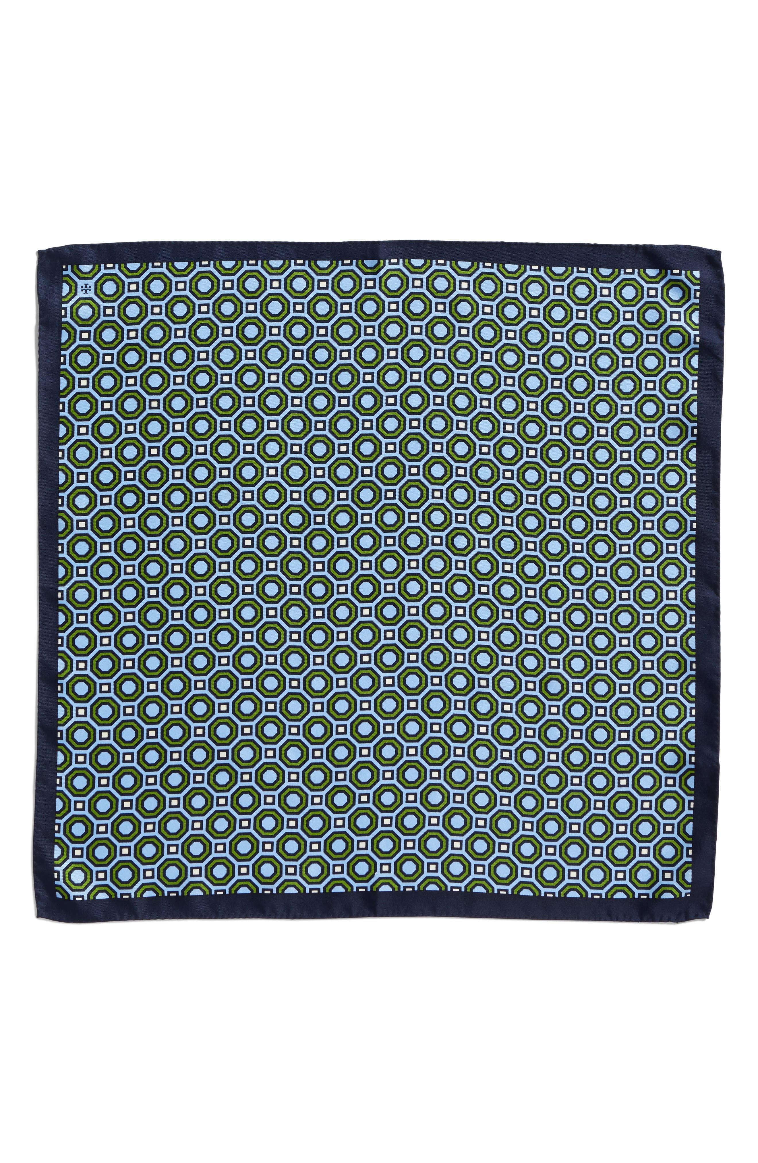 Octagon Print Silk Neckerchief,                             Alternate thumbnail 3, color,                             Blue