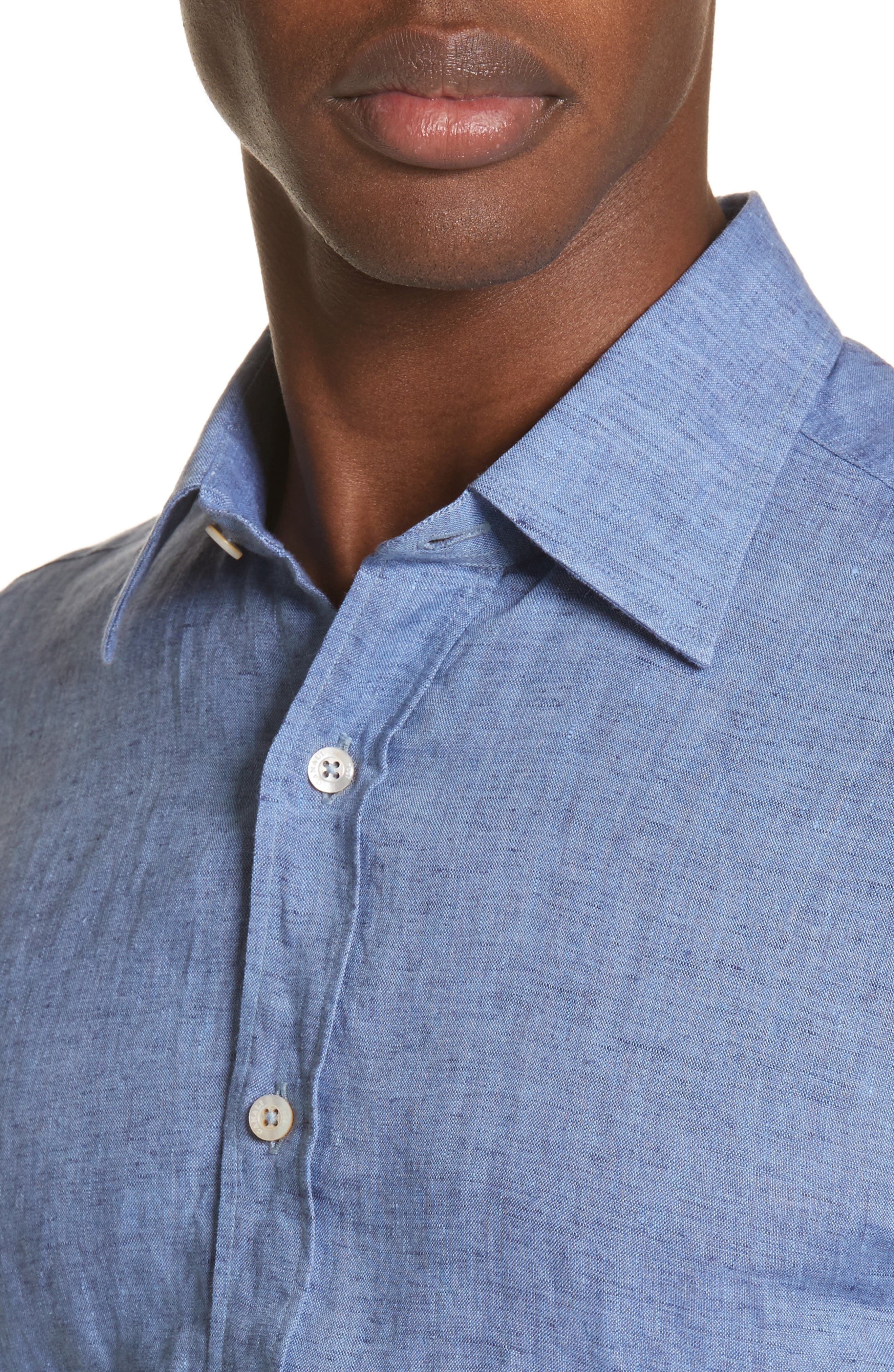 Slim Fit Linen Sport Shirt,                             Alternate thumbnail 4, color,                             Med Blue