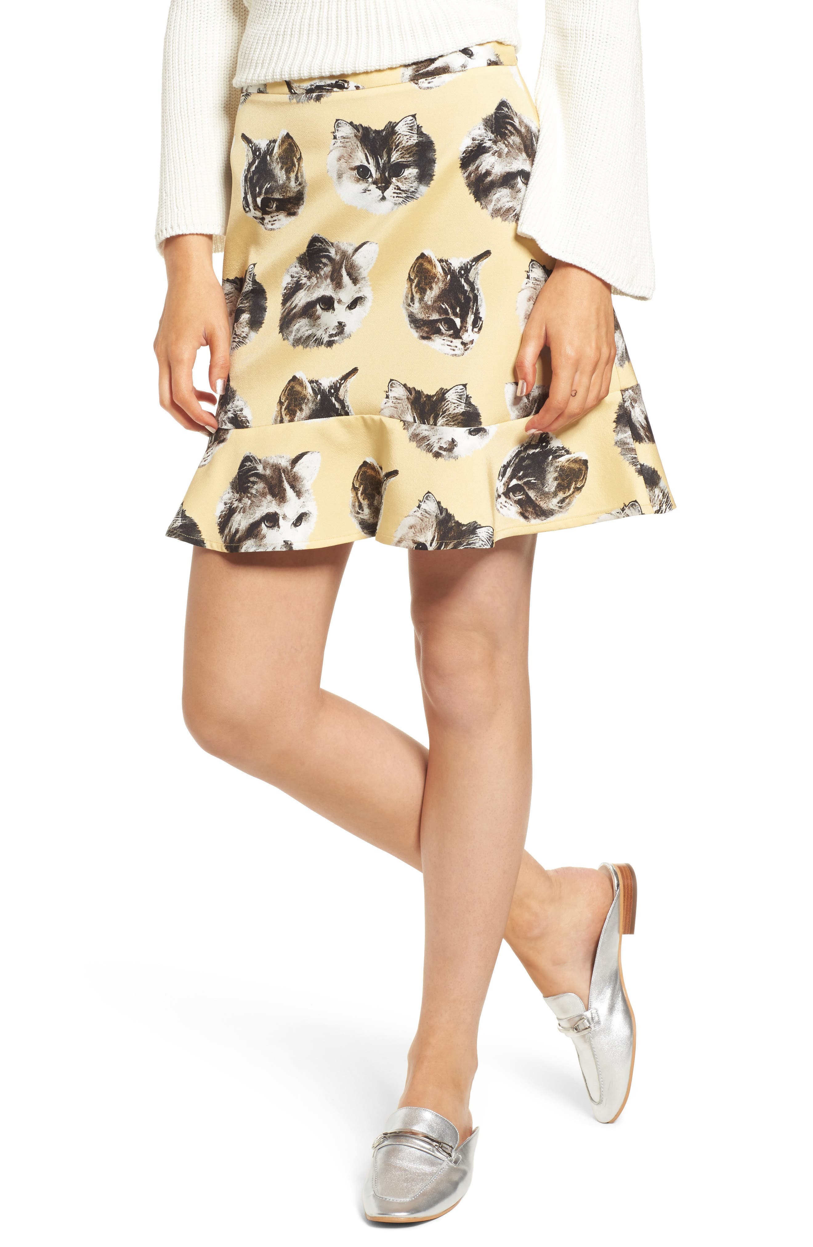 Tina Skirt,                             Main thumbnail 1, color,                             Yellow