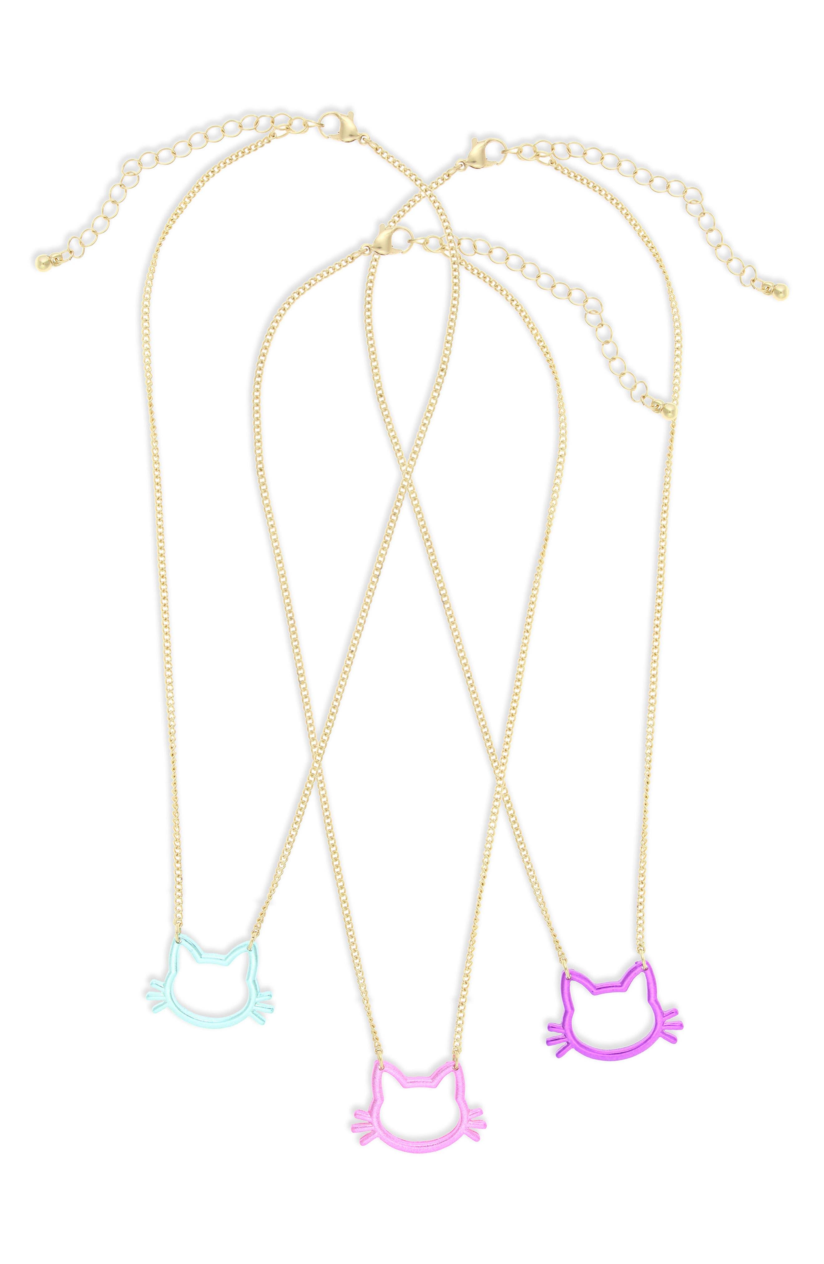 Set of 3 Cat Pendant Necklaces,                         Main,                         color, Pink Multi