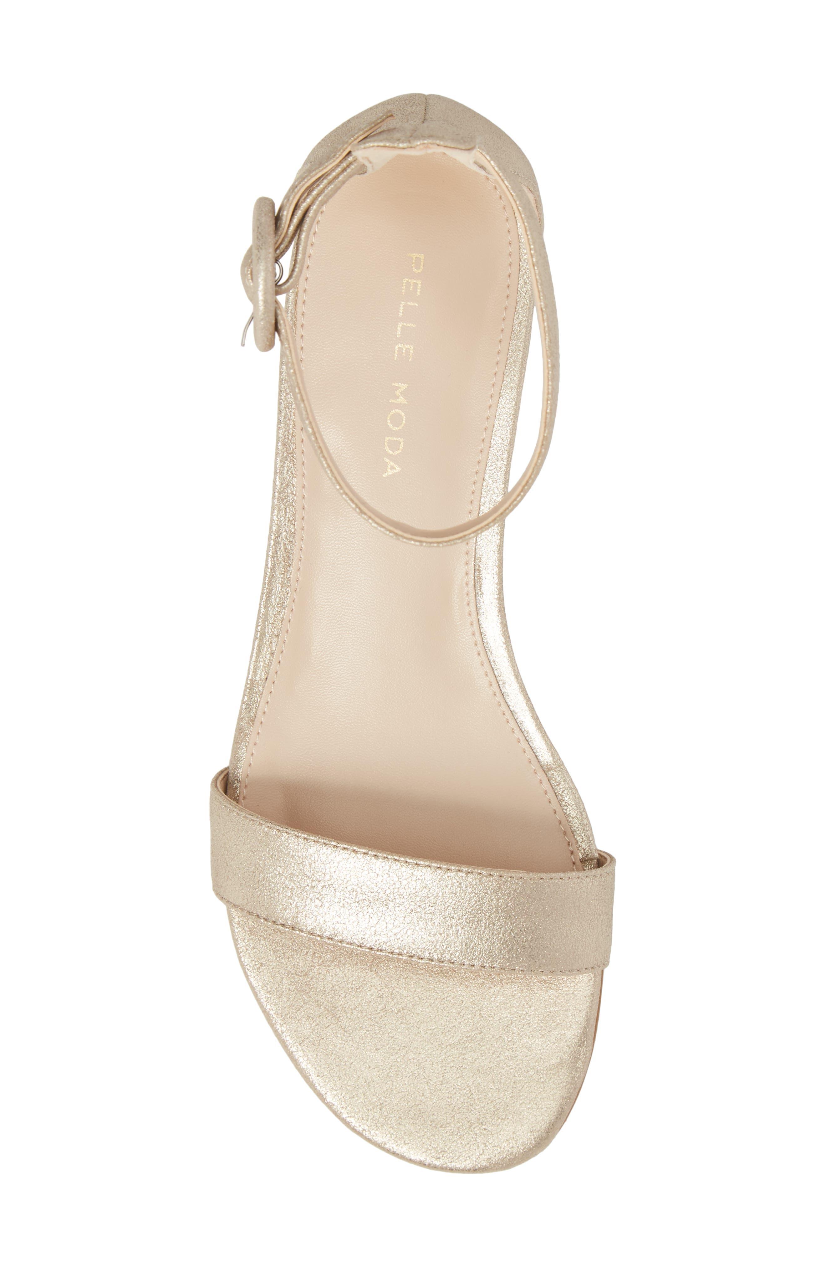Newport Sandal,                             Alternate thumbnail 5, color,                             Platinum Gold Metallic Suede
