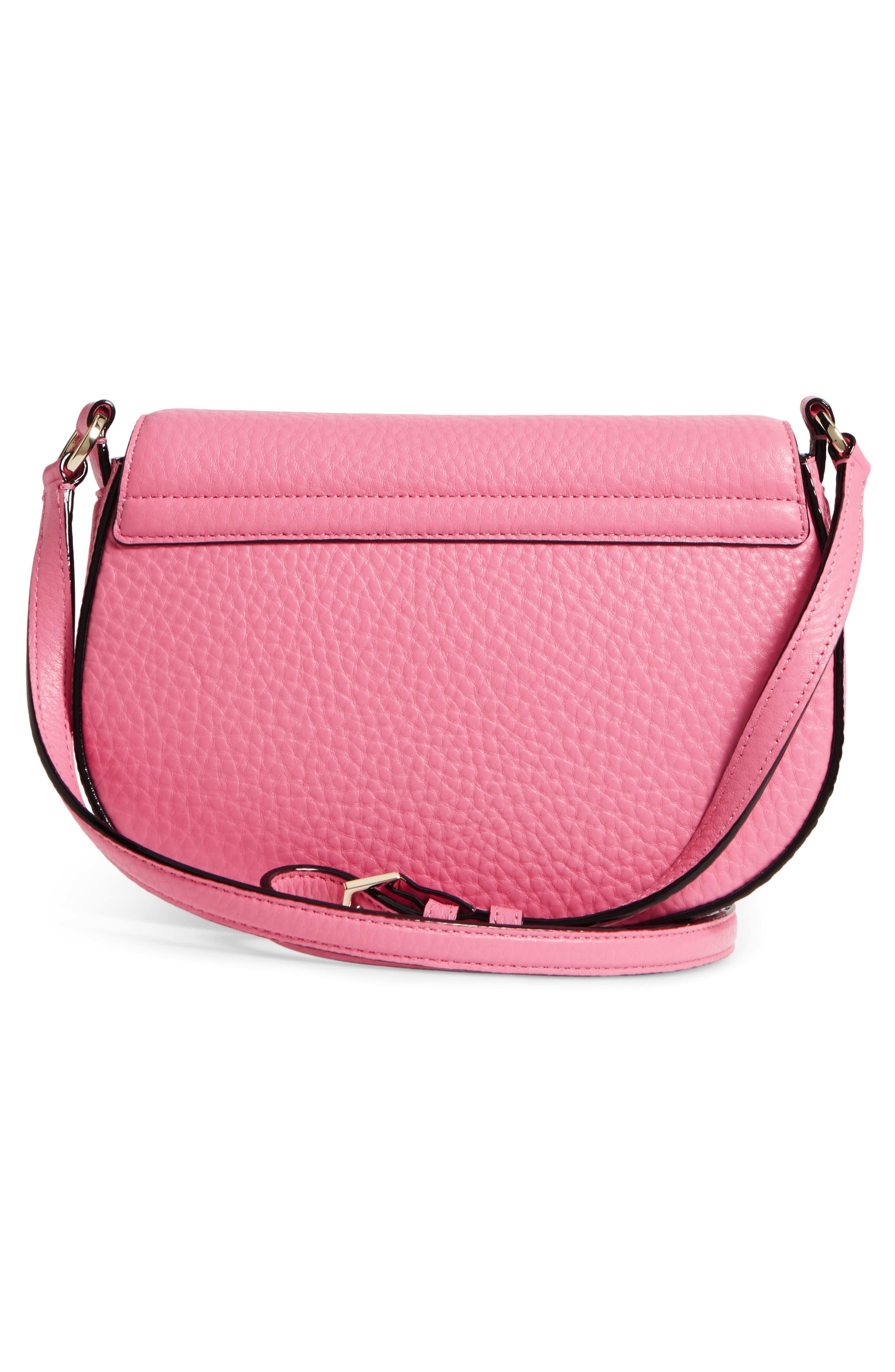 carlyle street - kallie leather saddle bag,                             Alternate thumbnail 3, color,                             Pink Sunset