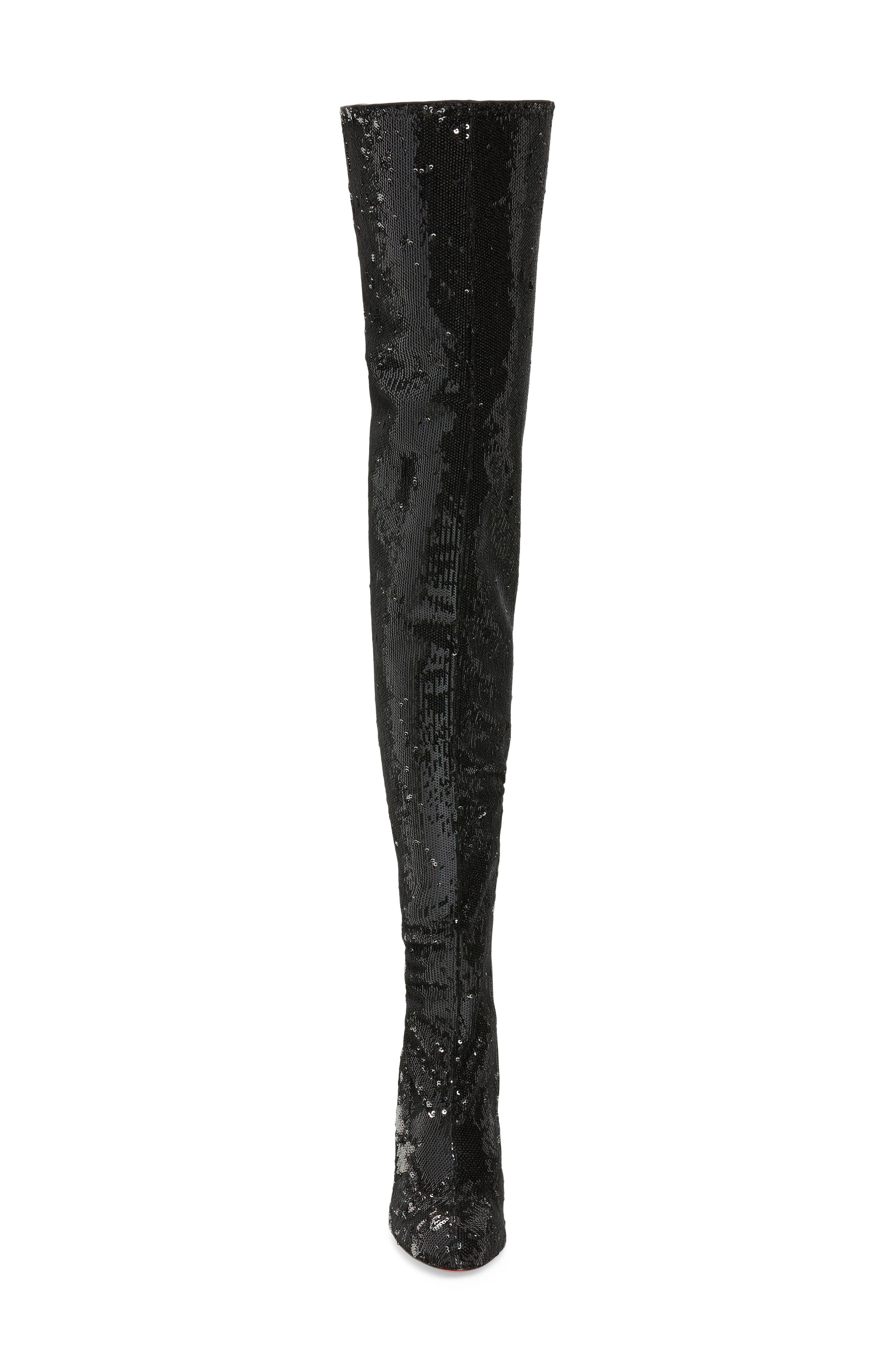 Louise Sequin Thigh High Boot,                             Alternate thumbnail 4, color,                             Black/ Silver