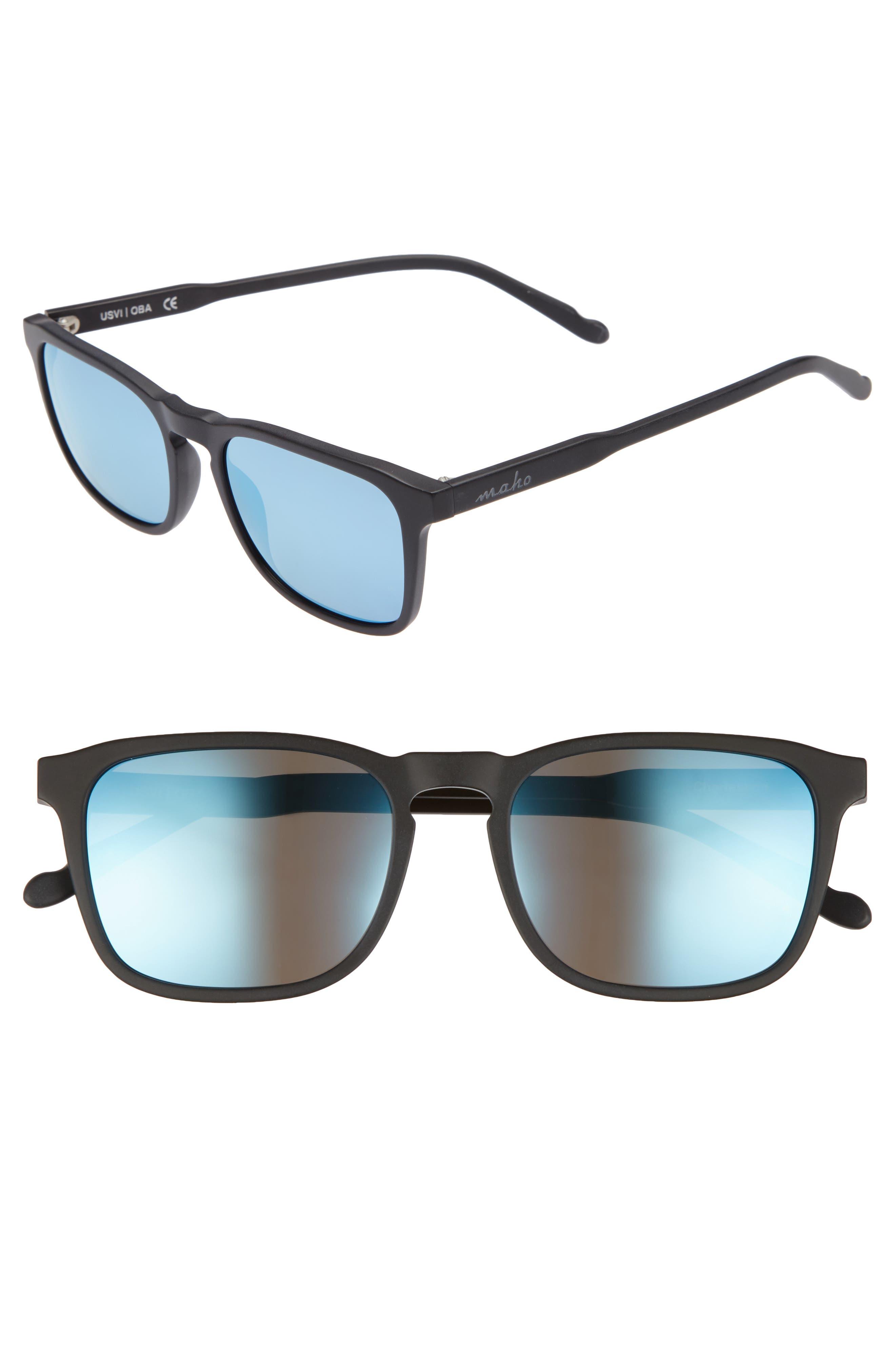 53mm Charleston Polarized Rectangular Sunglasses,                         Main,                         color, Charcoal