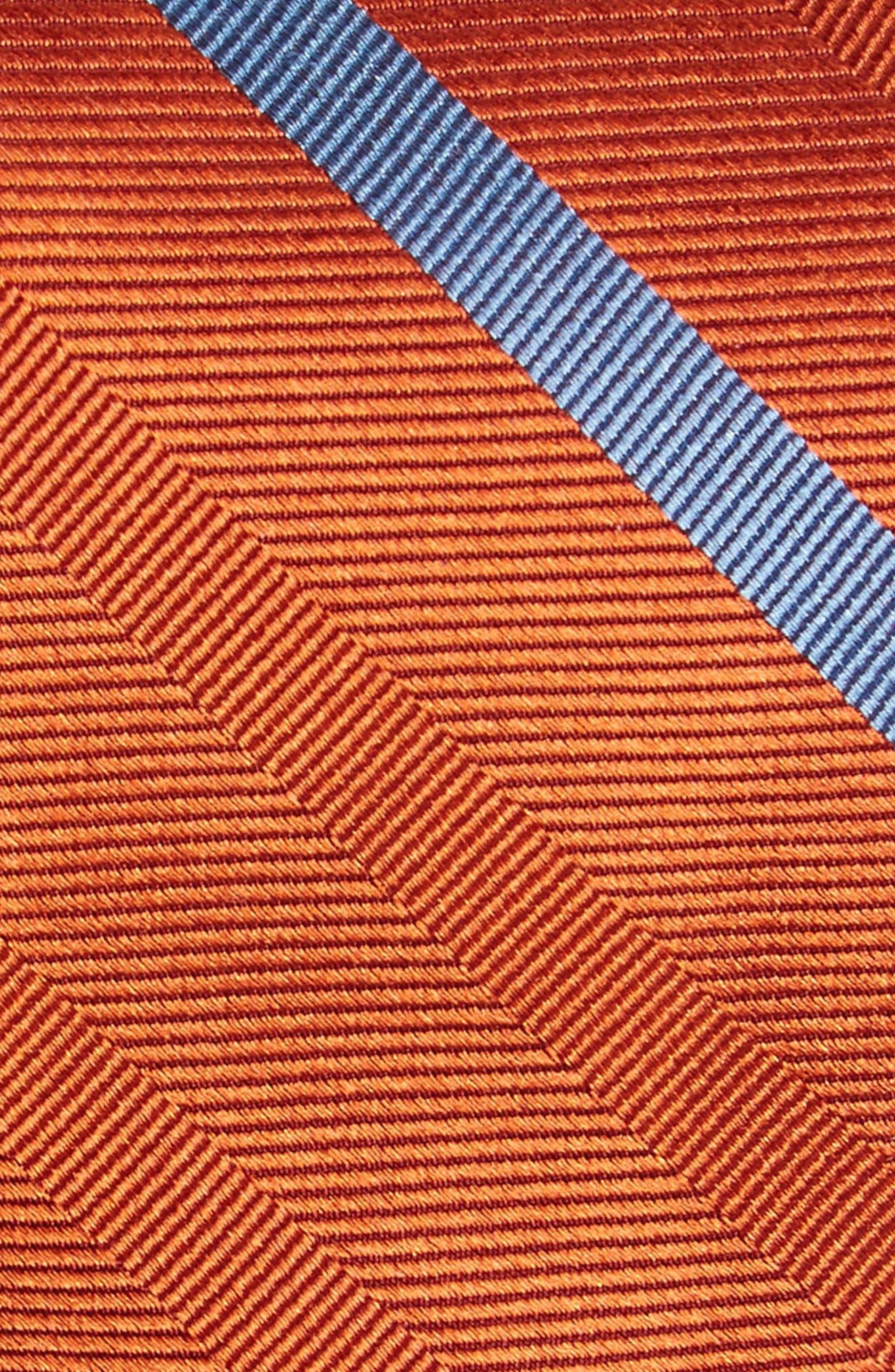 Goal Line Stripe Silk Skinny Tie,                             Alternate thumbnail 2, color,                             Orange