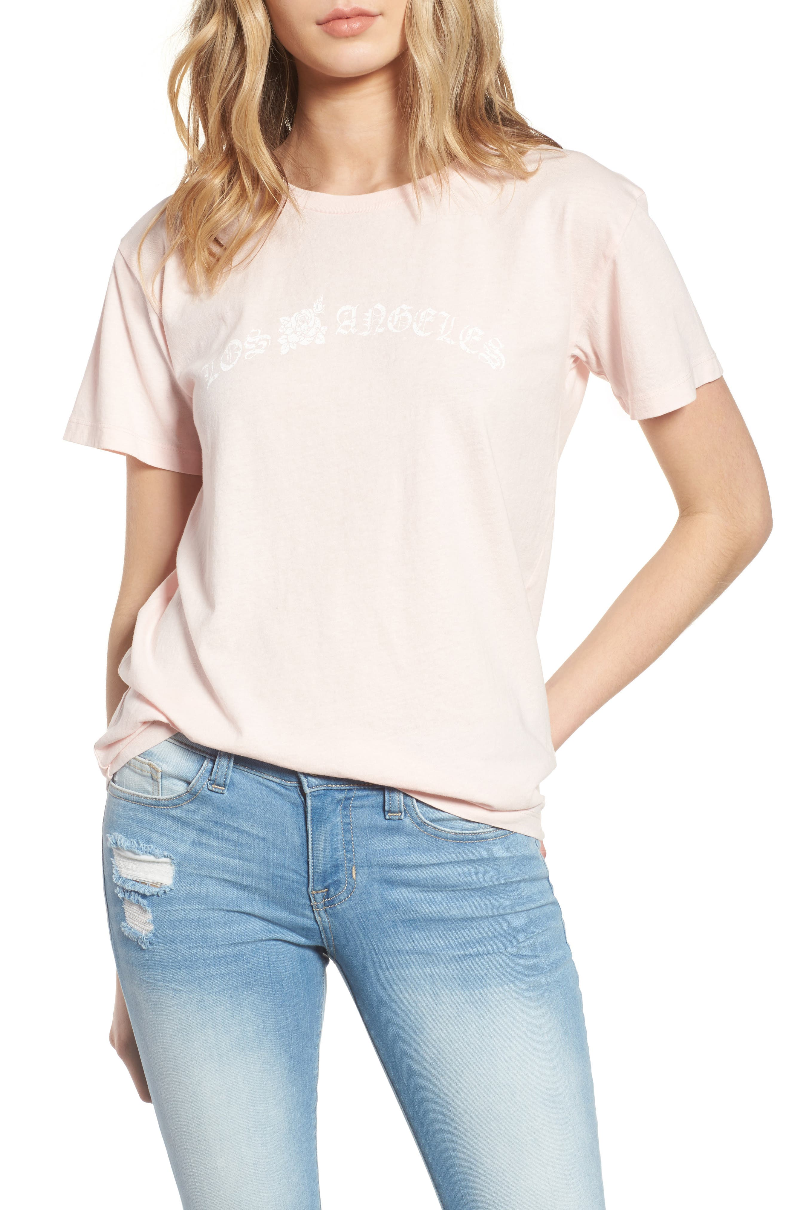 Los Angeles Cotton Boyfriend Tee,                             Main thumbnail 1, color,                             Washed Pale Pink