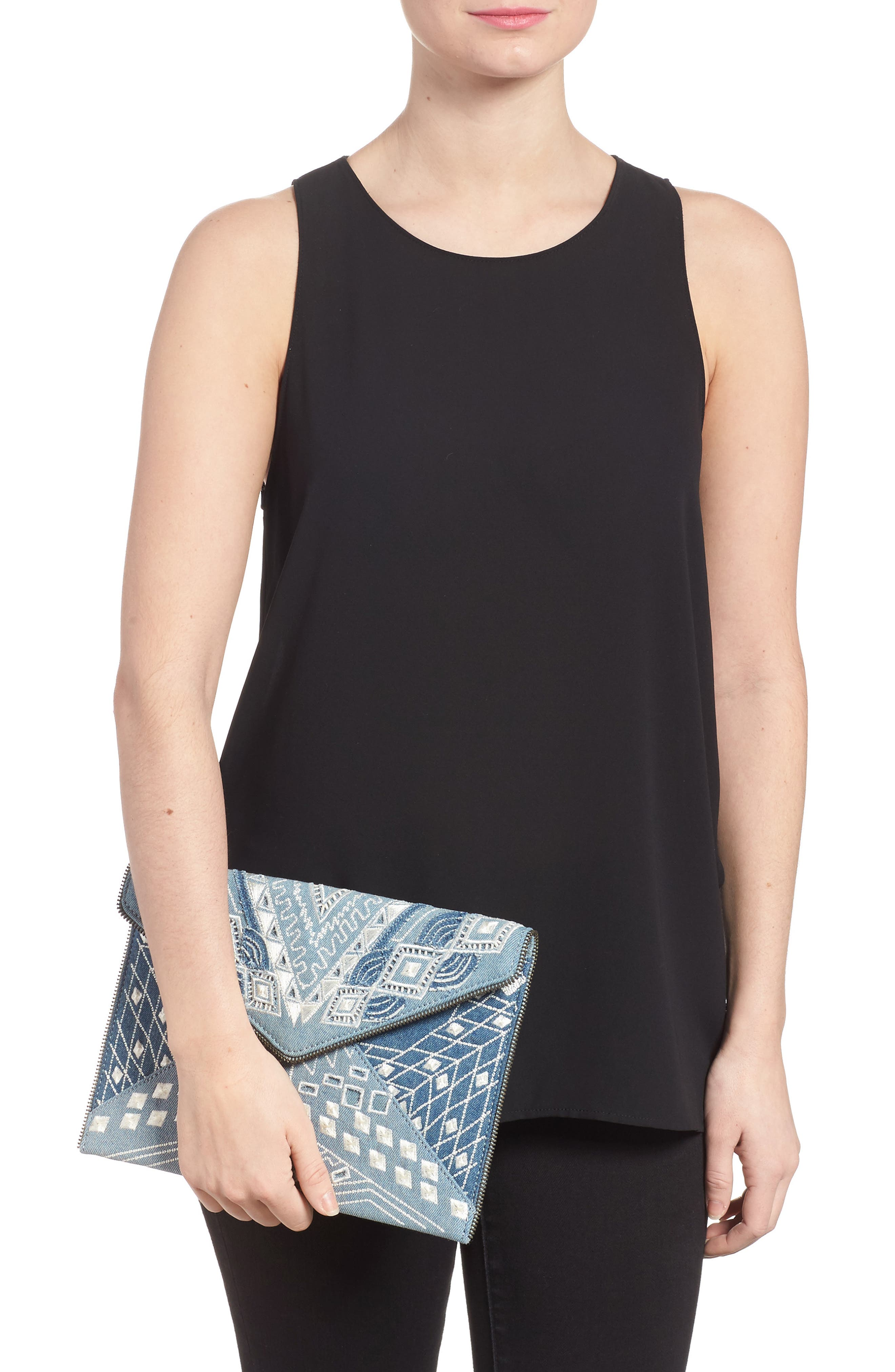 Alternate Image 2  - Rebecca Minkoff Leo Embroidered Denim Clutch