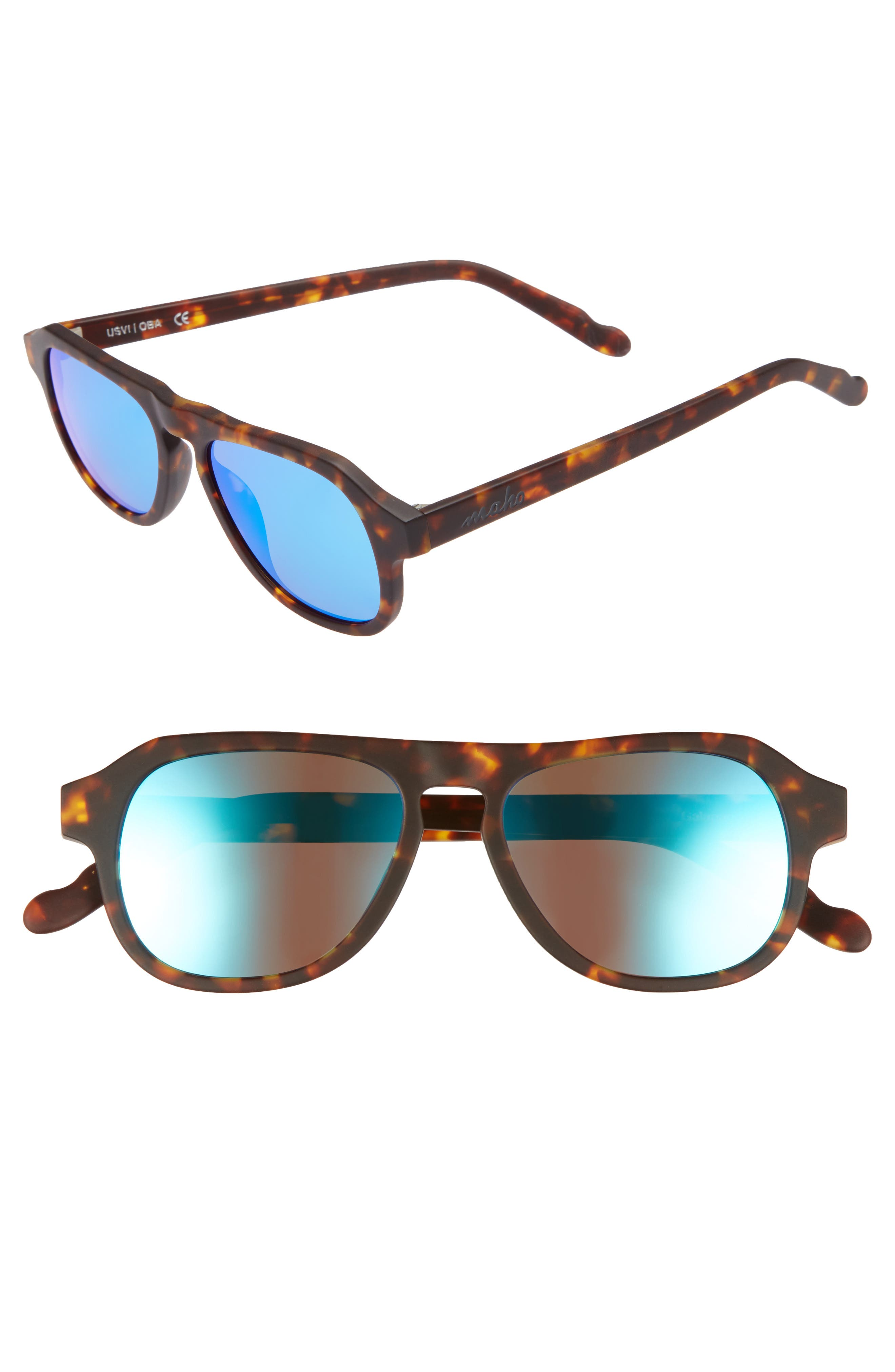 Galapagos 48mm Polarized Flat Top Sunglasses,                         Main,                         color, Java